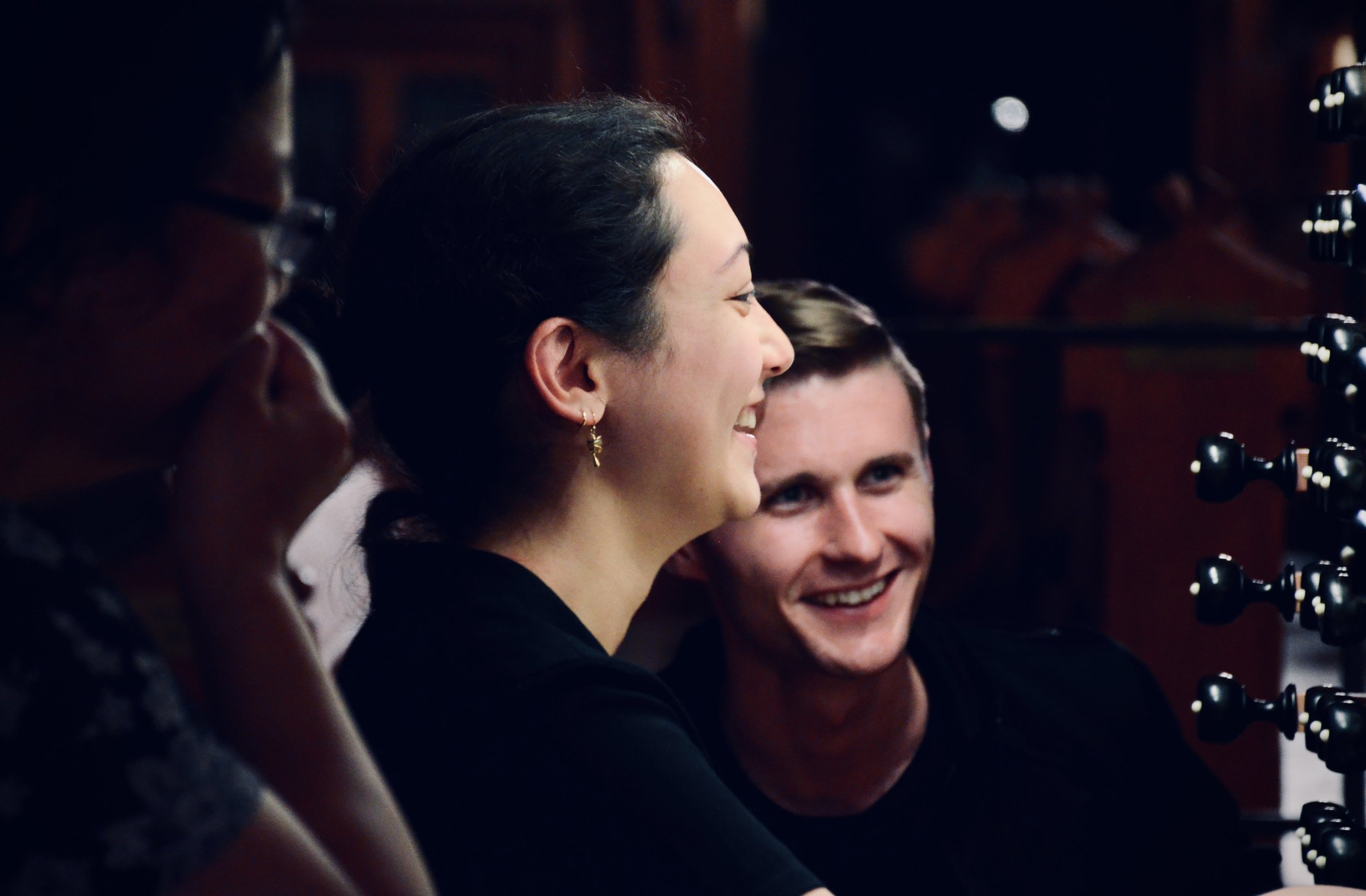 """Meg Cutting and Evan Currie at the 2000 Woehl """"Bach Organ"""" in Thomaskirche, Leipzig… well past midnight."""