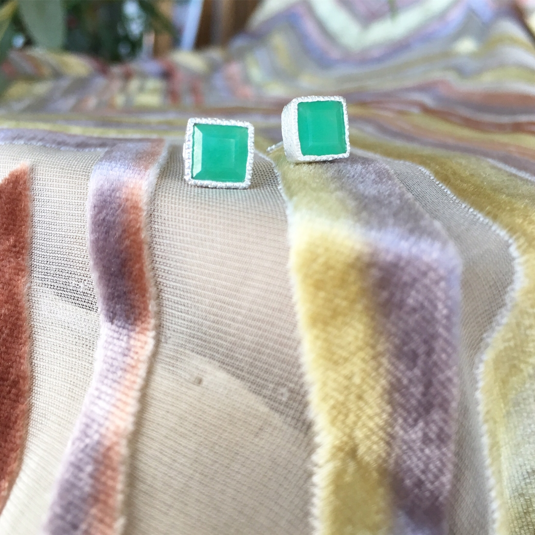 Chrysoprase Square Earrings