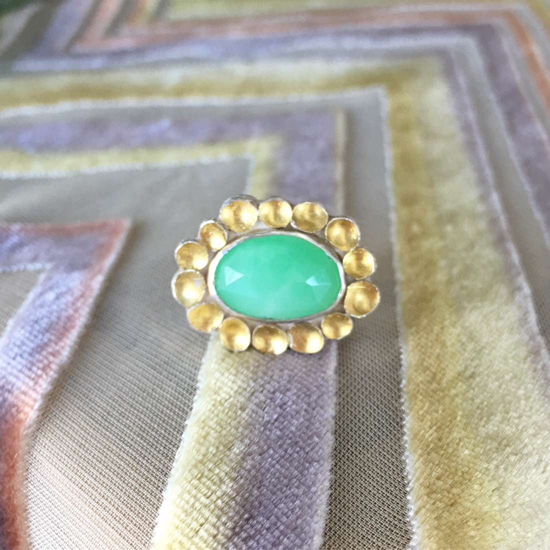Chrysoprase Halo Ring