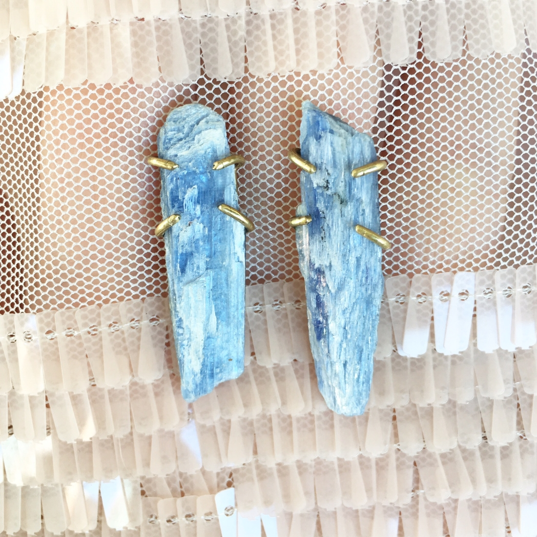 Kyanite + Brass Posts