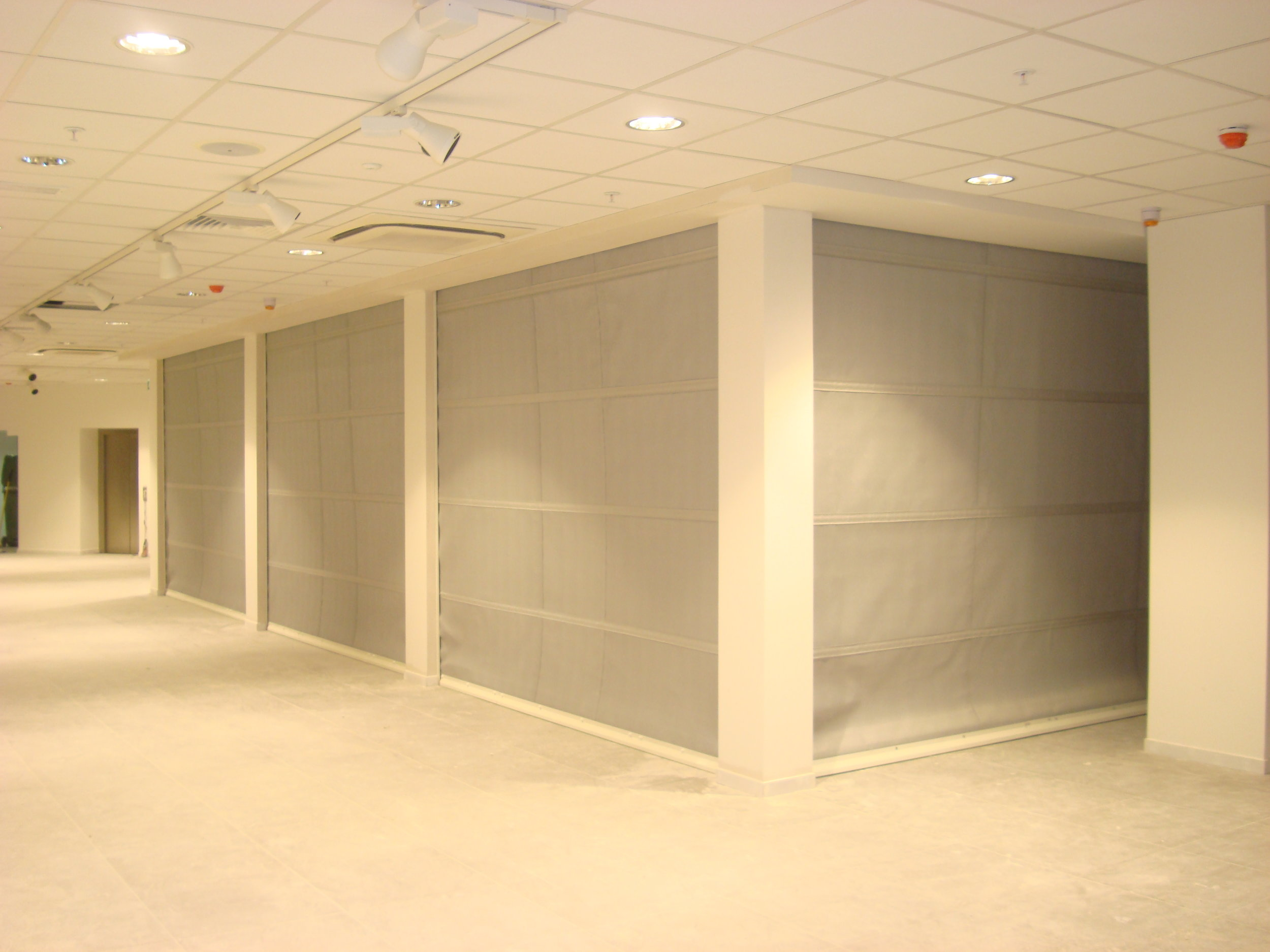Fire curtains installed