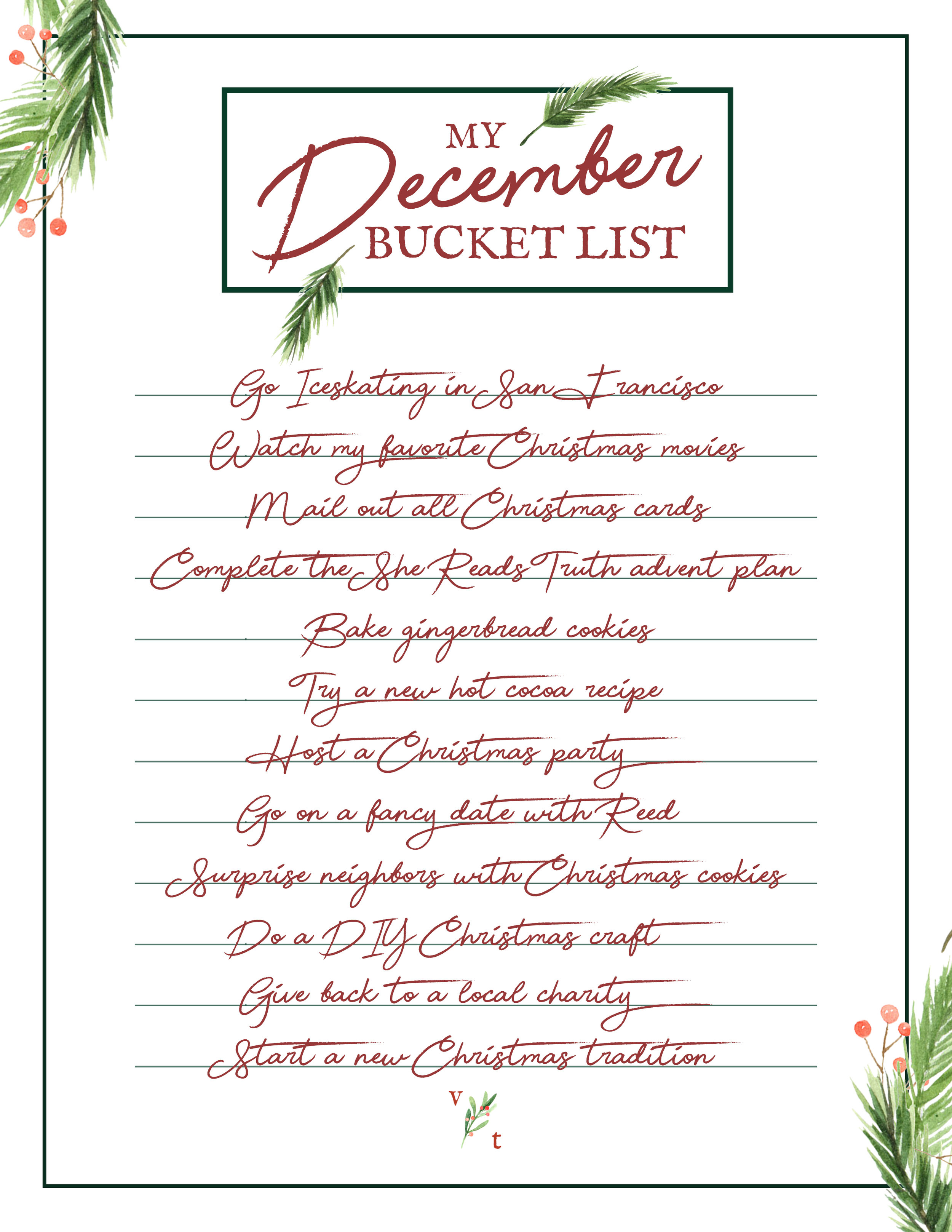 graphic regarding Bucket List Printable Template called Blogmas Working day 8: My December Bucket Listing ( A Totally free Printable