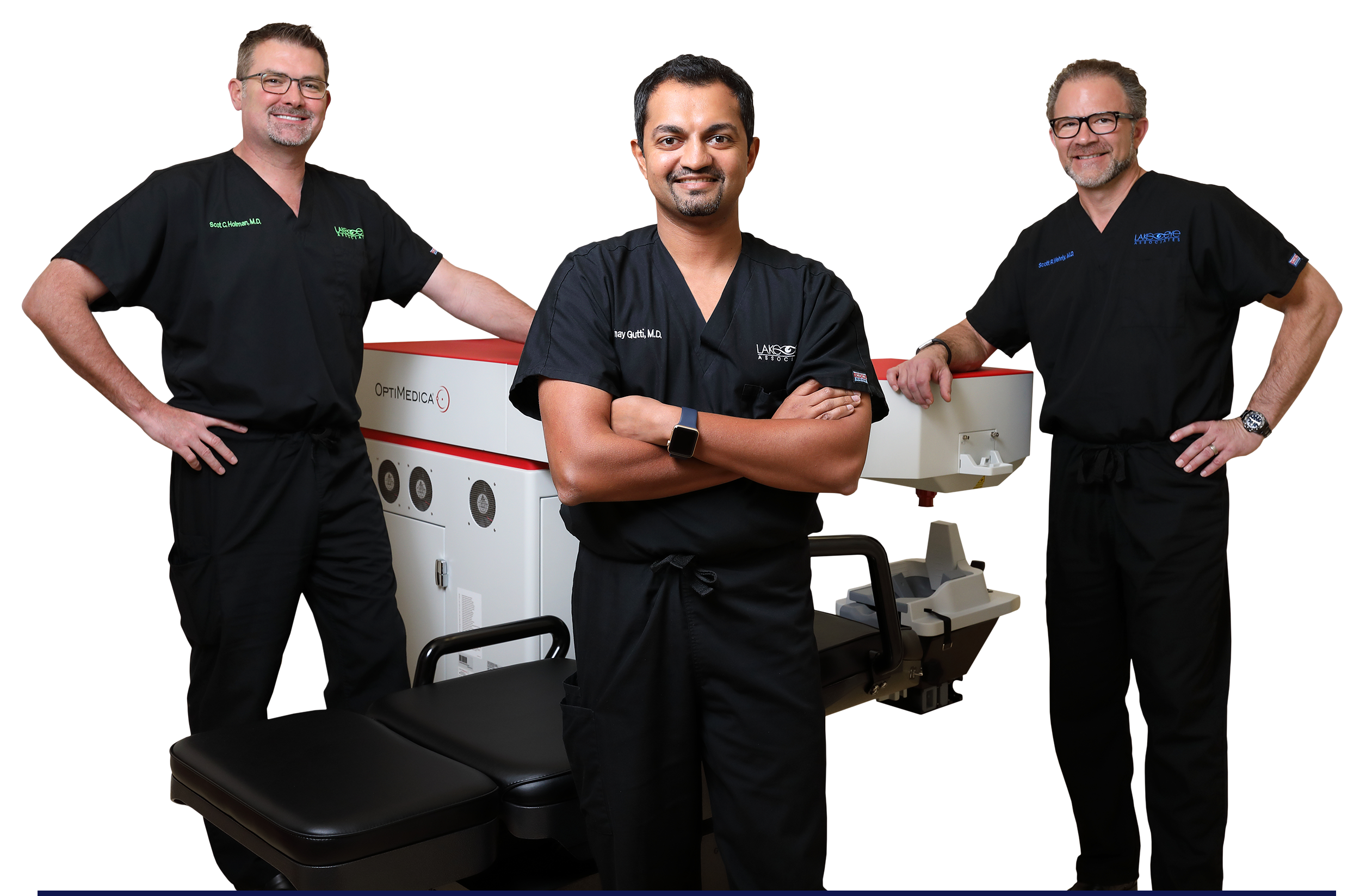 Lake Eye Board-certified cataract surgeons (from left to right): Dr. Scot Holman, Dr. Vinay Gutti and Dr. Scott Wehrly