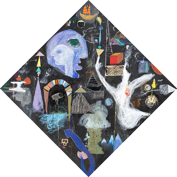 """<i>Holy Ghost</i>, 1992<br>Acrylic and Collage on Canvas<br>18.5"""" square"""