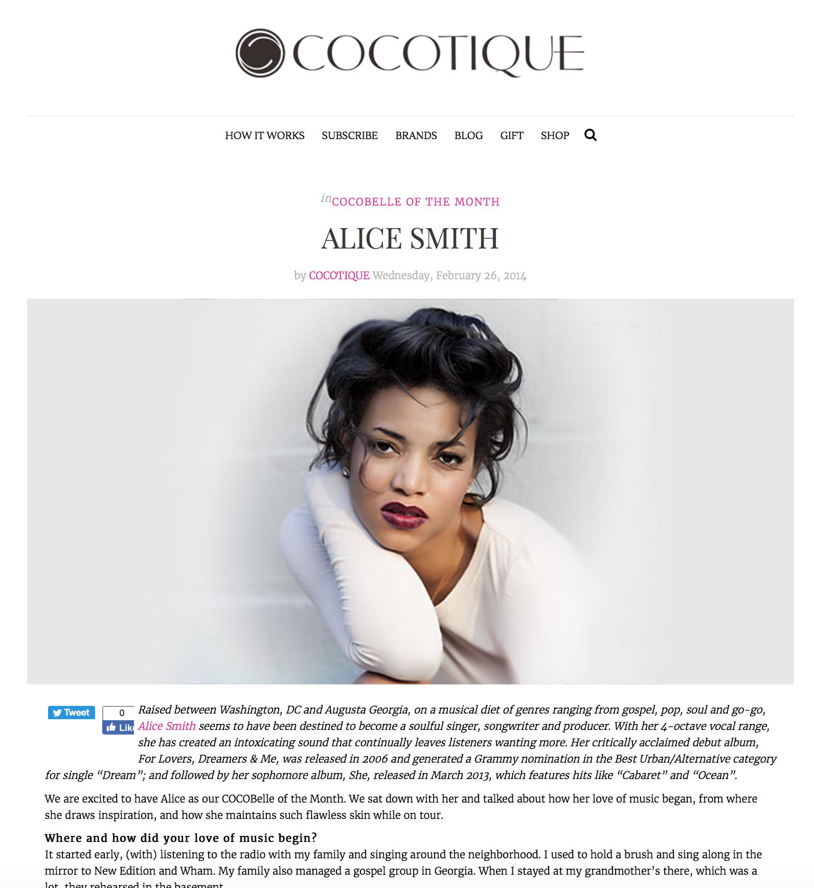 Press: Cocotique   Featuring:Alice Smith