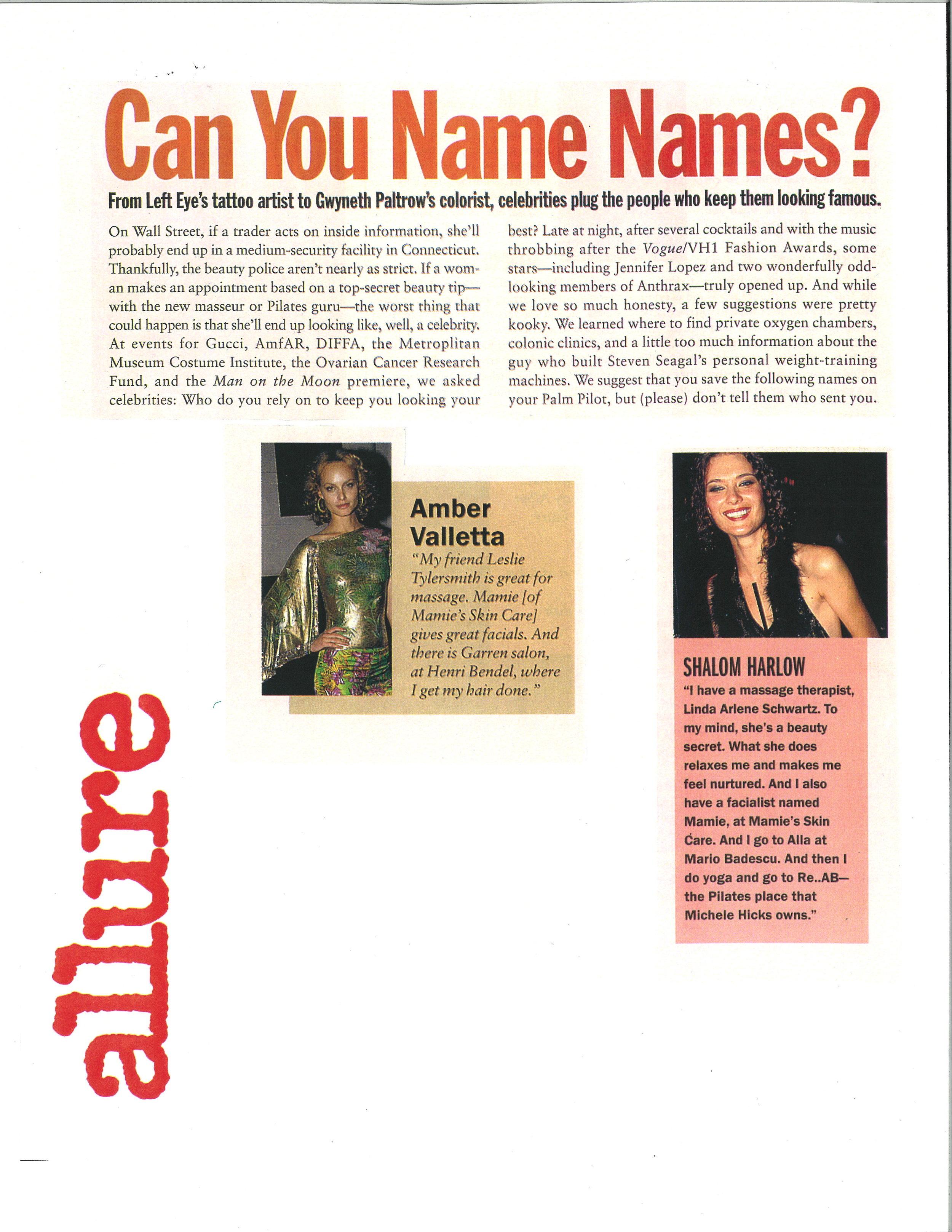 Press: Allure Magazine  Featuring: