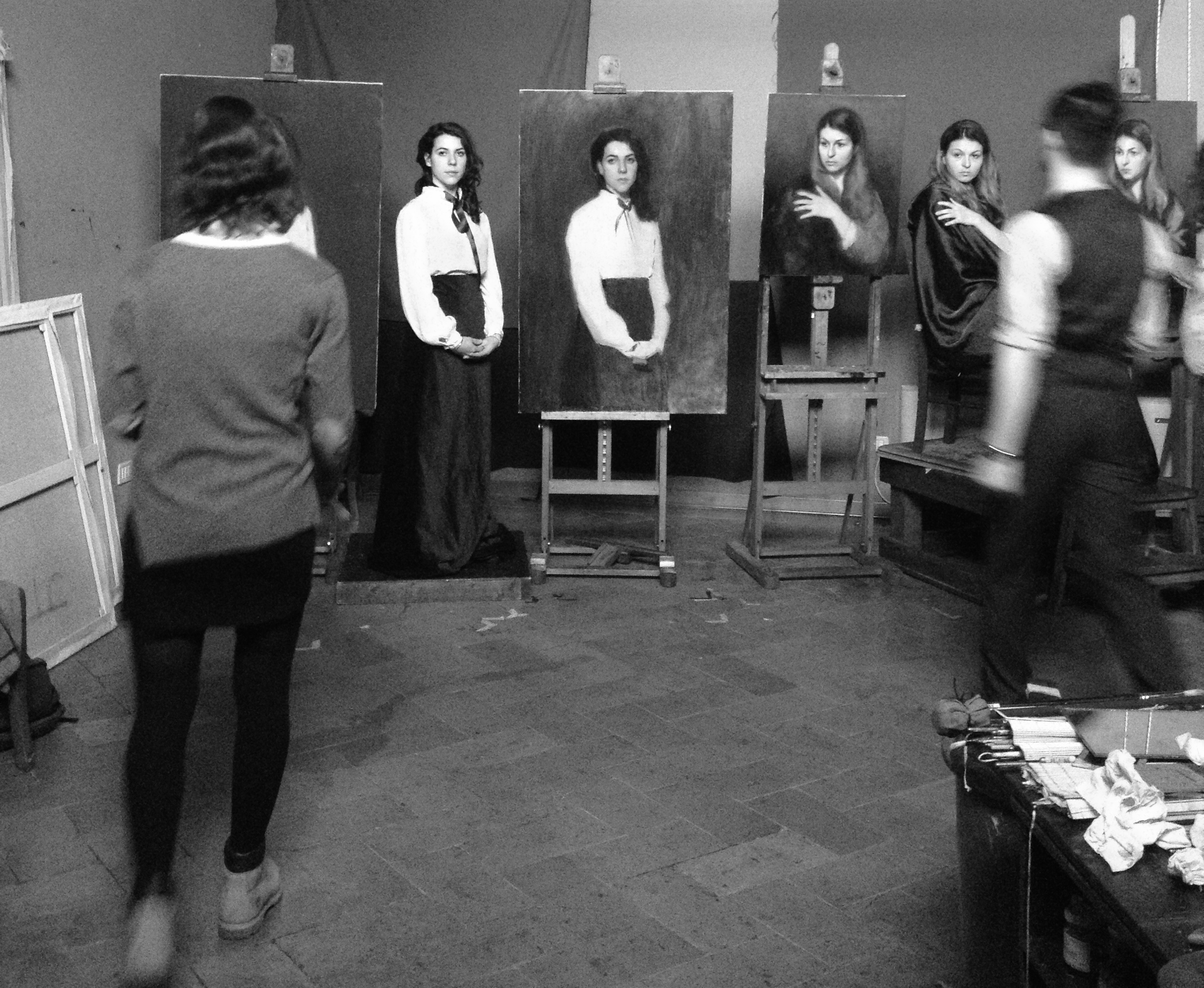 Paintings being developed through the sight-size method.