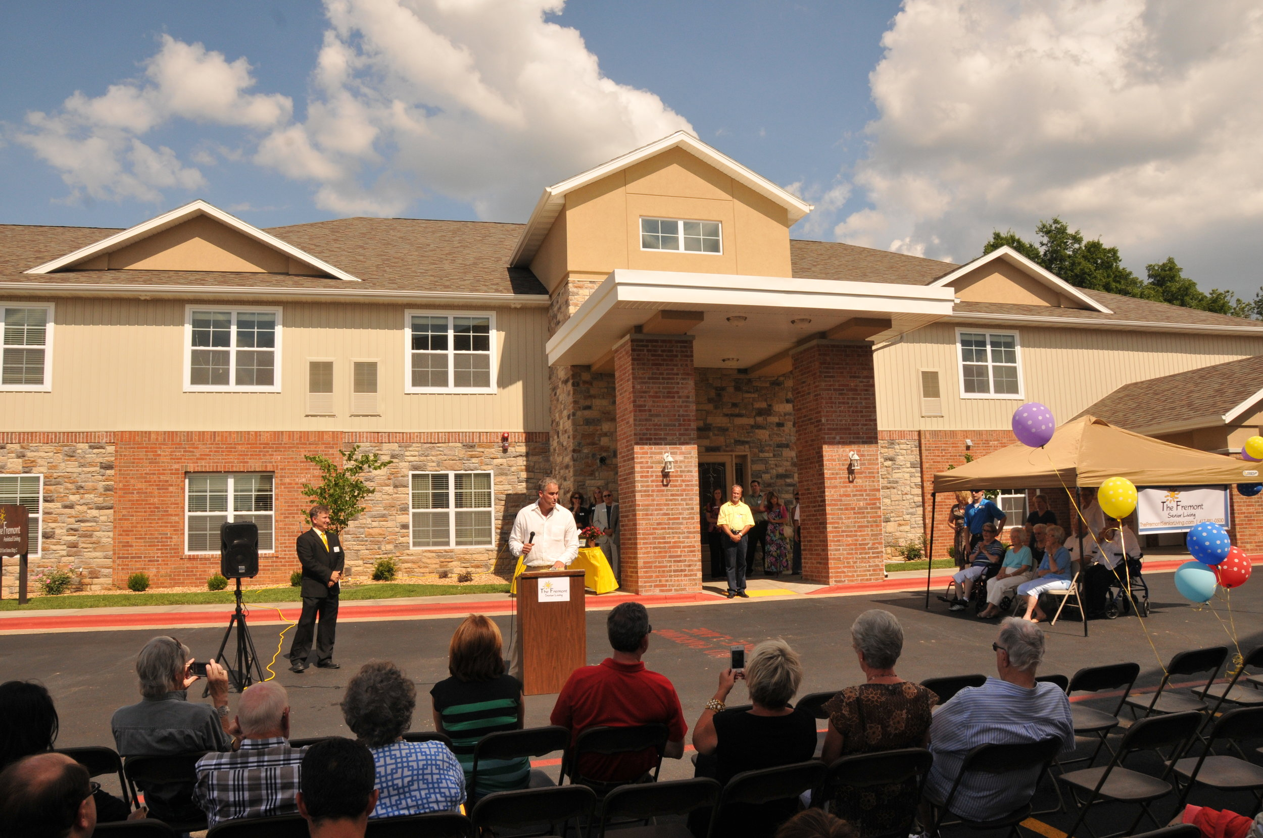 Matt E. Miller speaks to the crowd at the Grand Opening of The Fremont's Memory Care Facility and Assisted Living Facility.