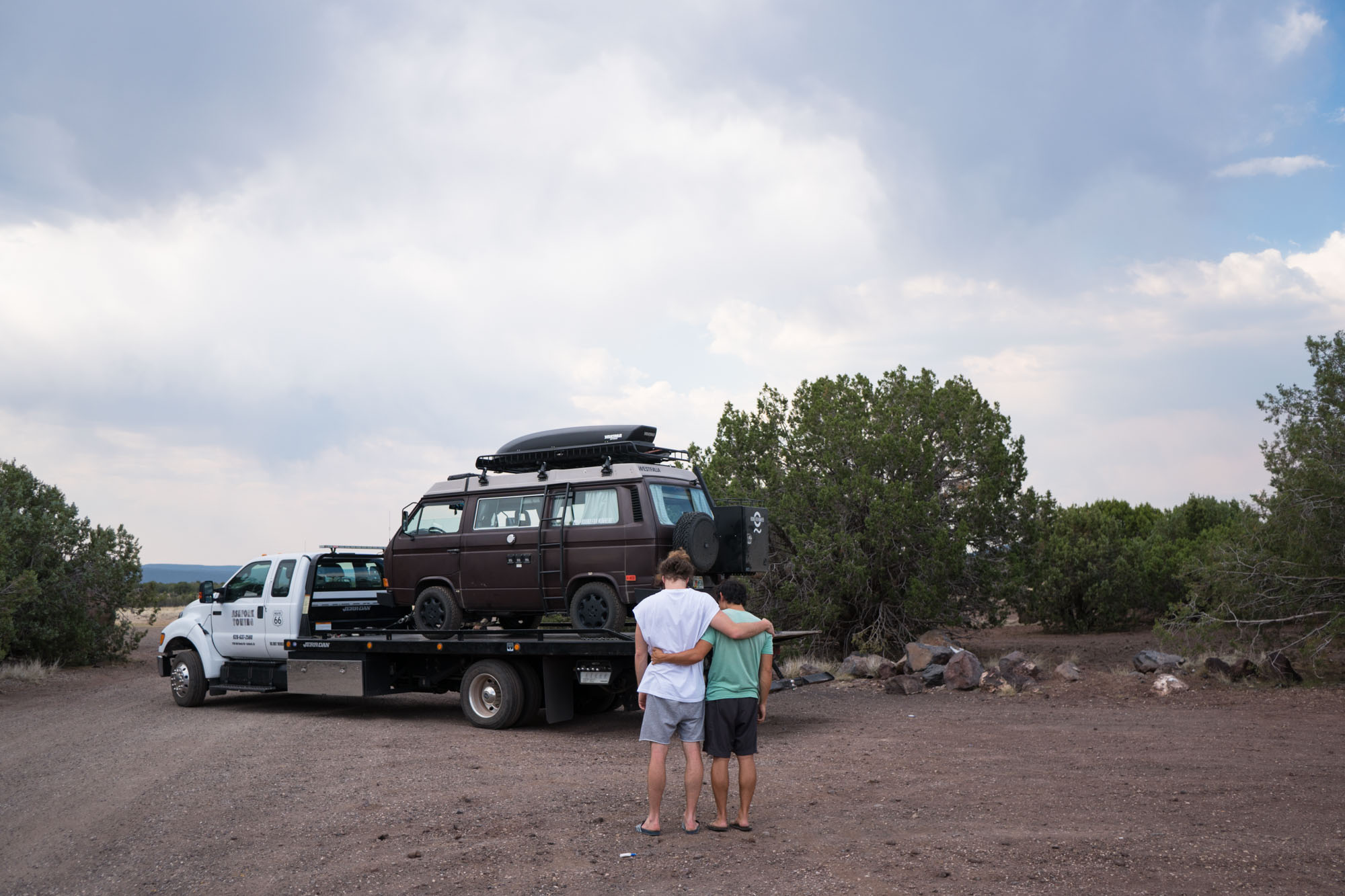 Our first tow ever. Outside of the Grand Canyon