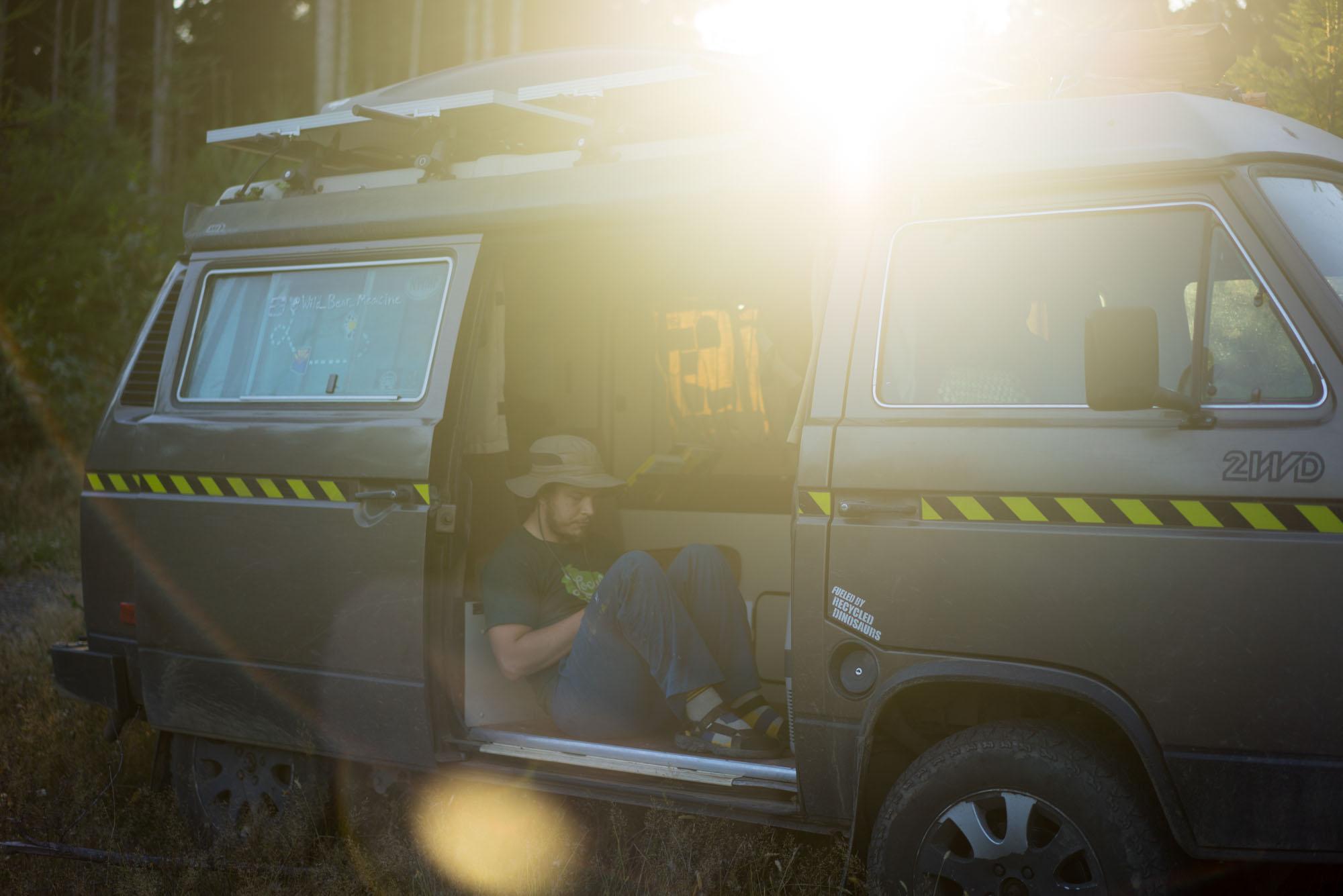 DJ at a campsite