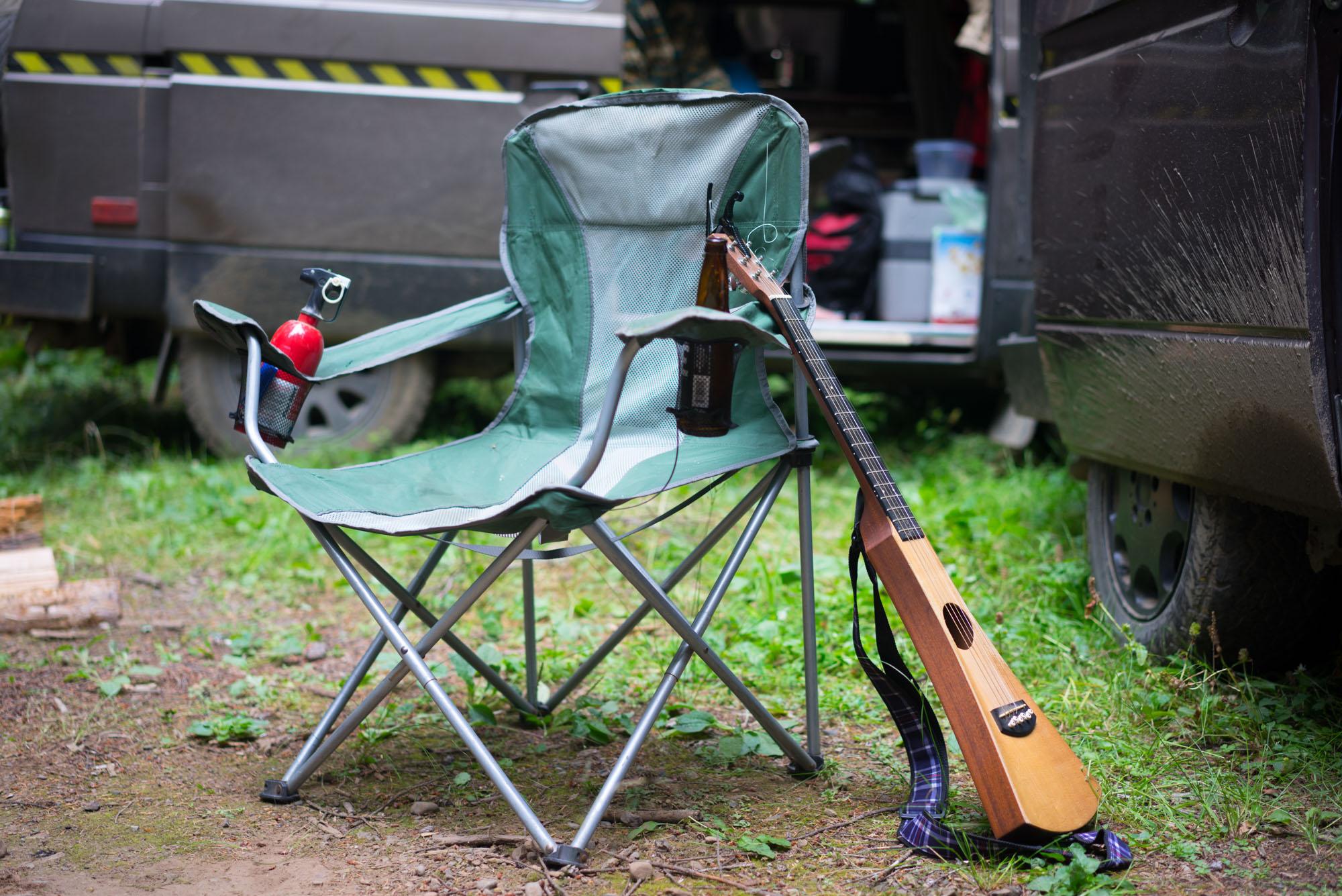 Vanlife Starter Kit: Chair, Beer, Guitar, Fire Extinguisher