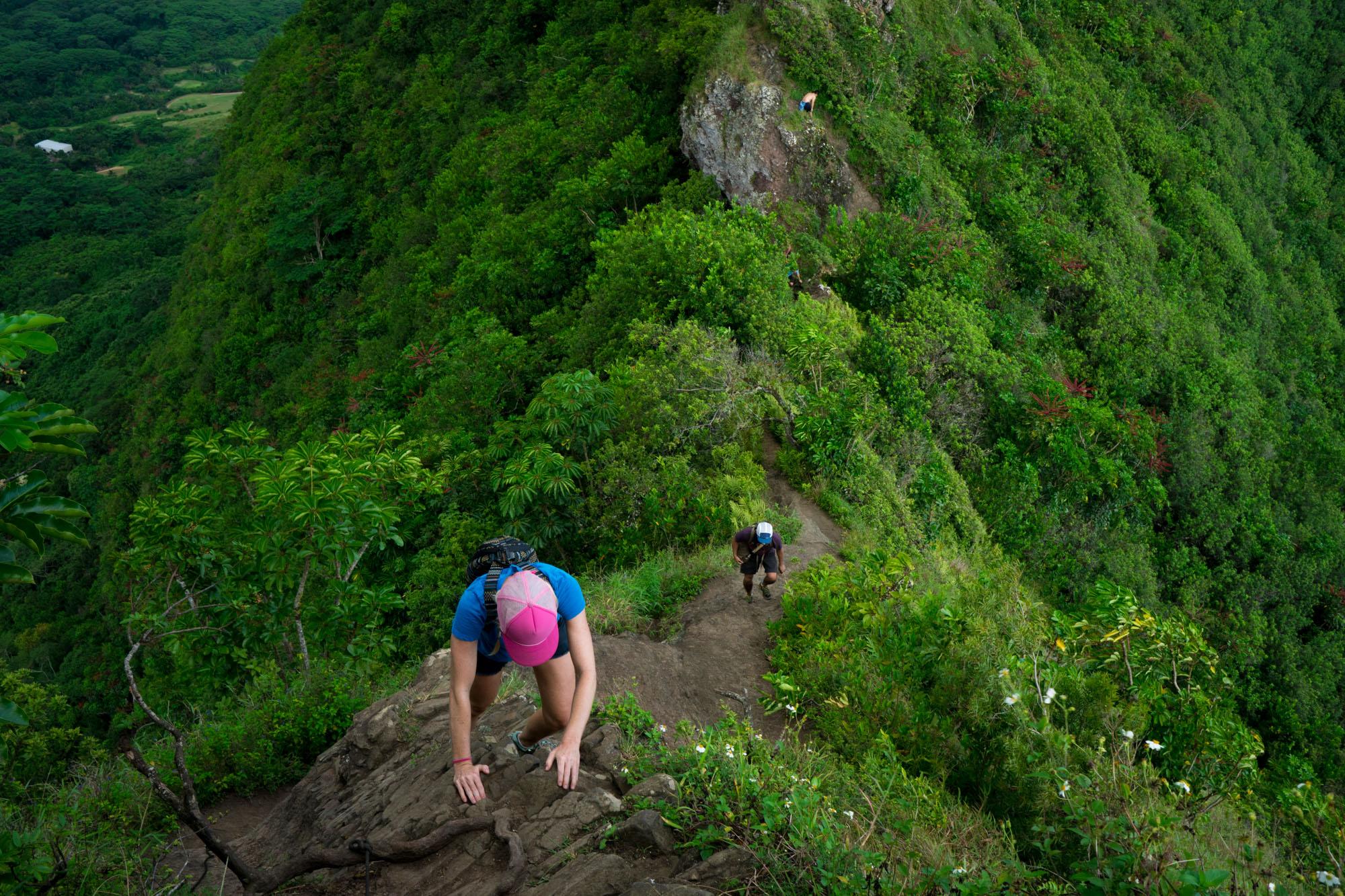 Laine & Owen climbing/hiking