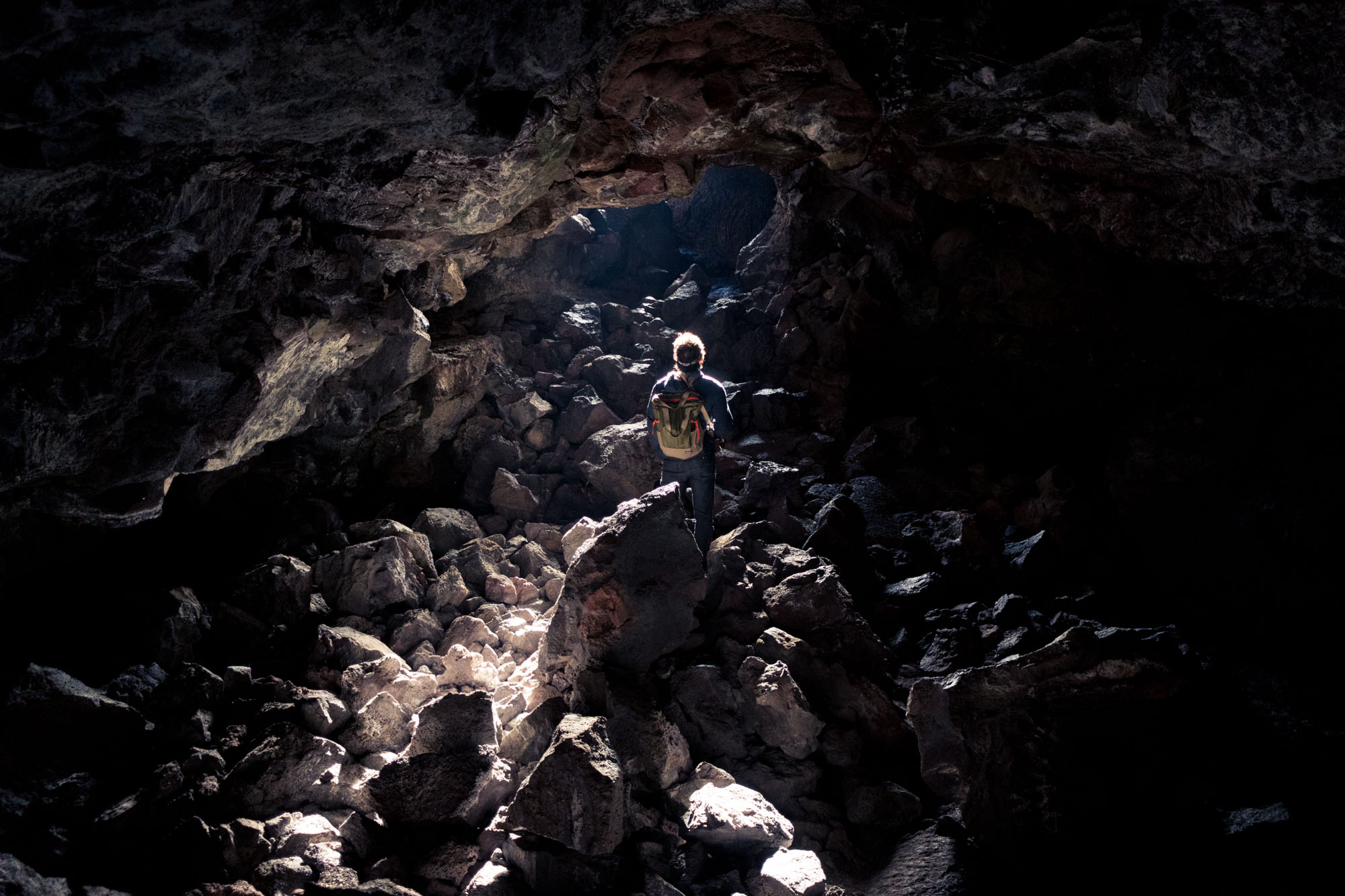 Owen in Indian Cave, Craters of the Moon National Monument