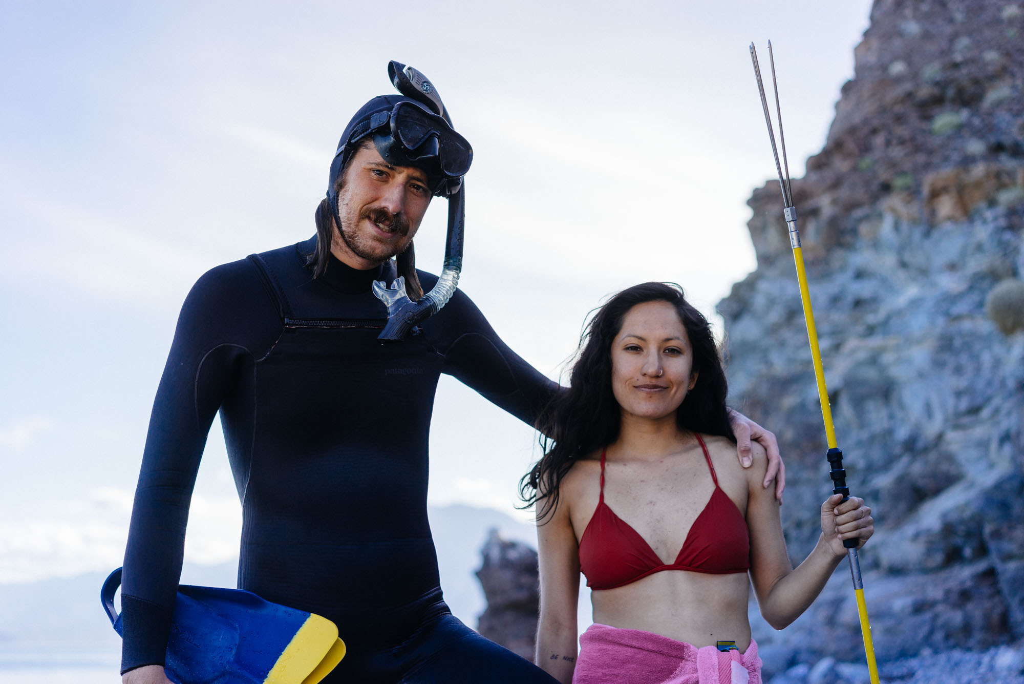 Matt & Allie post spearfishing at El Gringa, Baja California