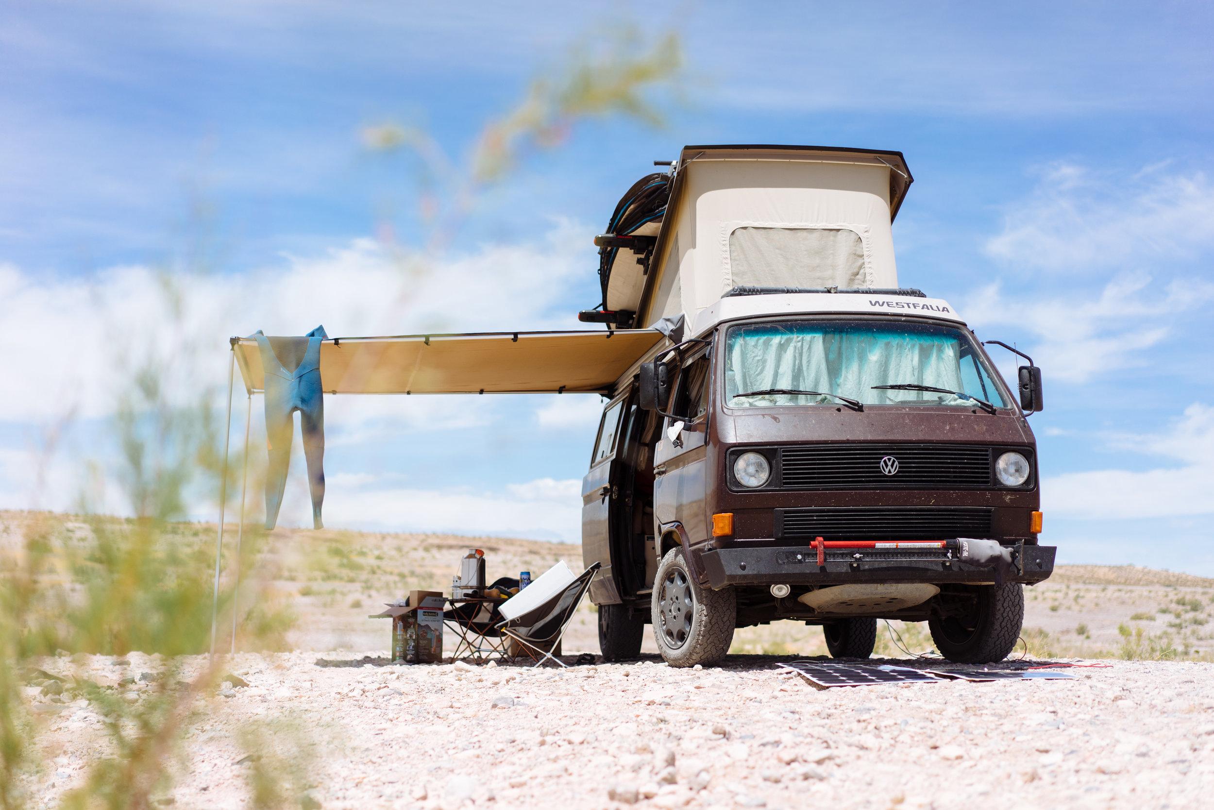 Camp set up on Lake Mead, NV