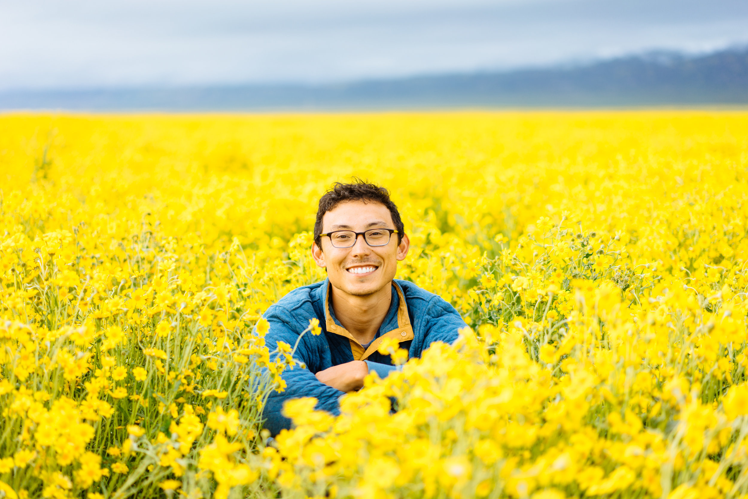 Owen among the flowers in Carizzo Plains.