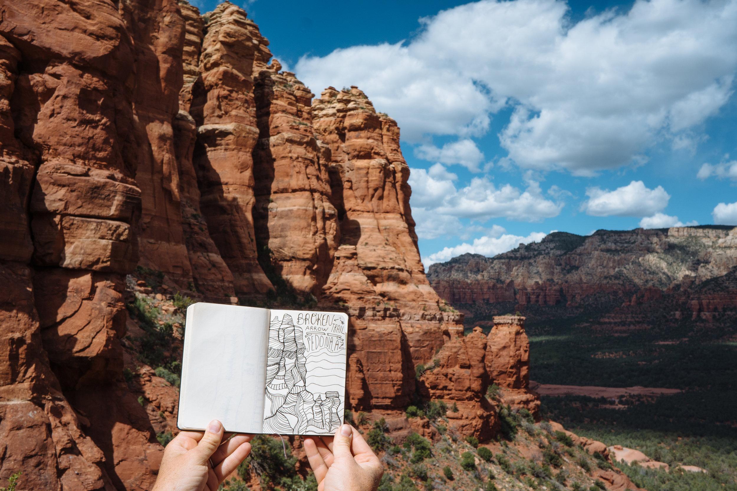 MAK sketching the Broken Arrow hike in Sedona, AZ