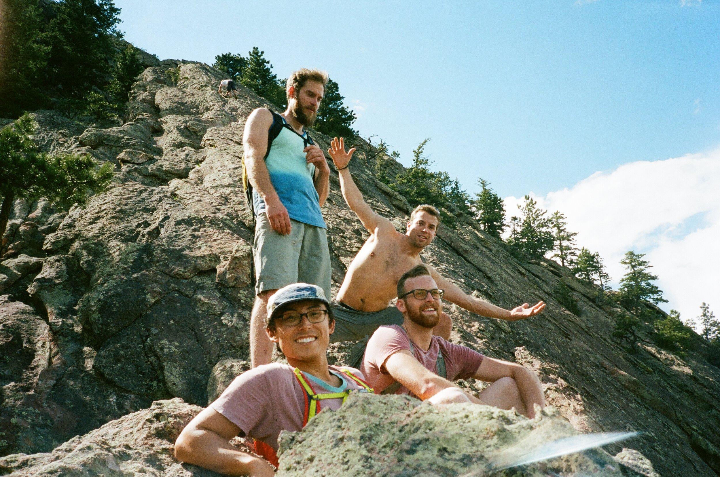 Team Boy Squad atop the Flatirons, 35mm