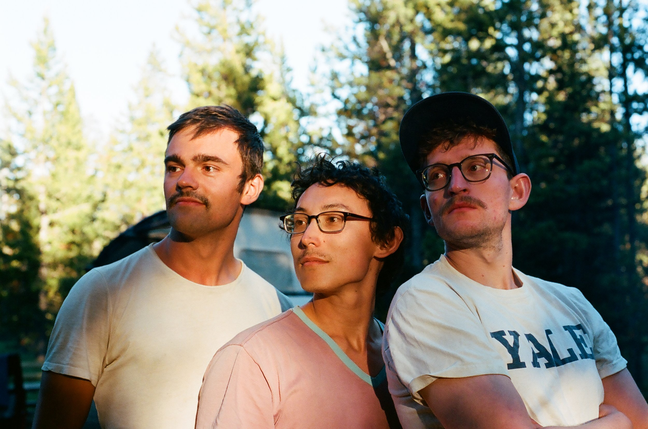 Tom, Owen, and Jamie showing off their mustaches, 35mm