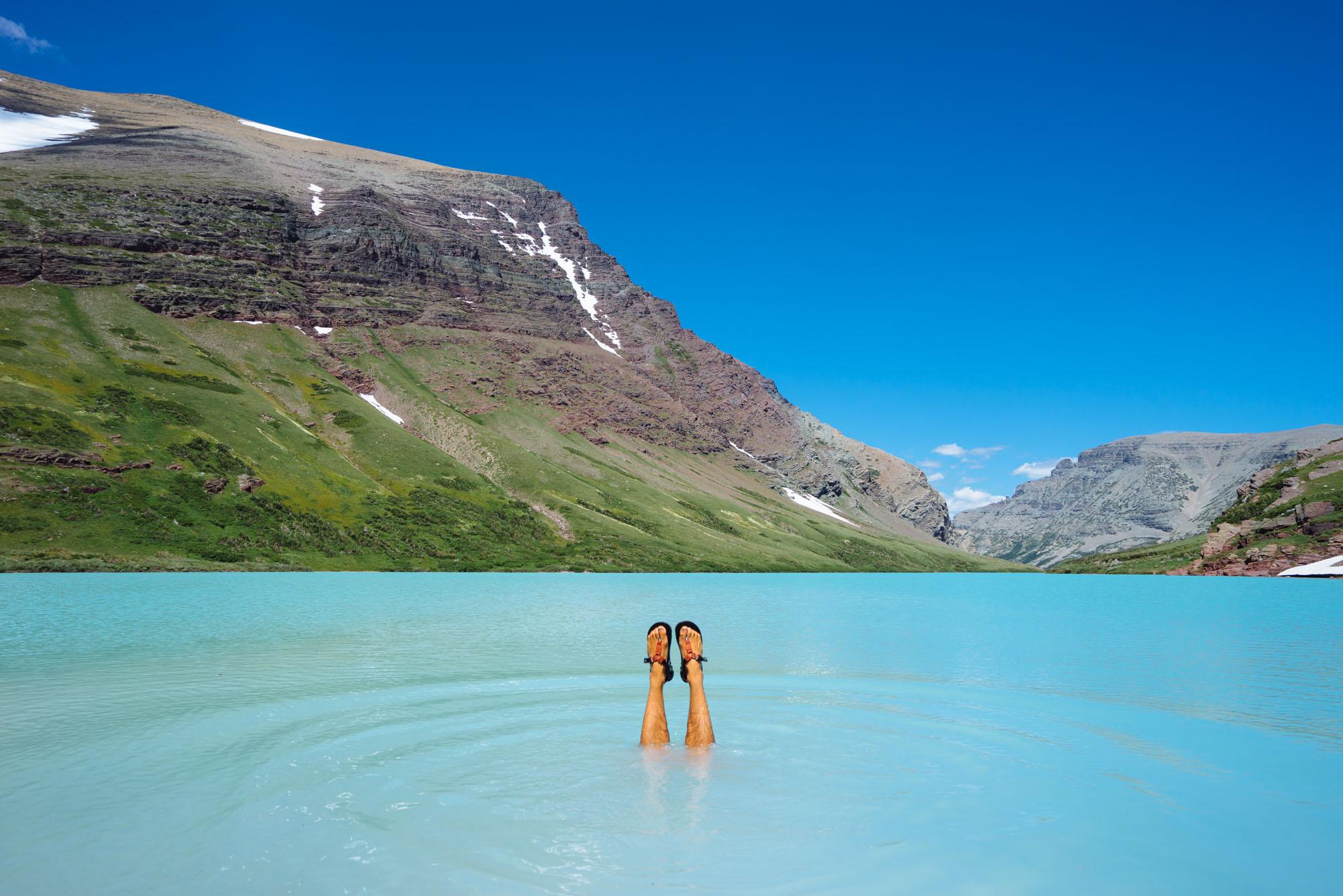 Owen in Cracker Lake, Glacier NP