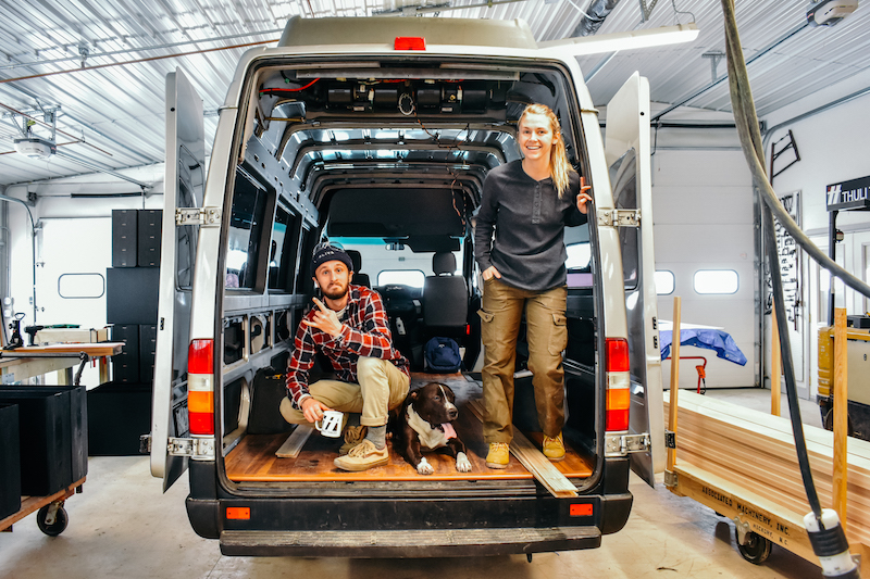 Pete, Snoop, and Tay with their project van