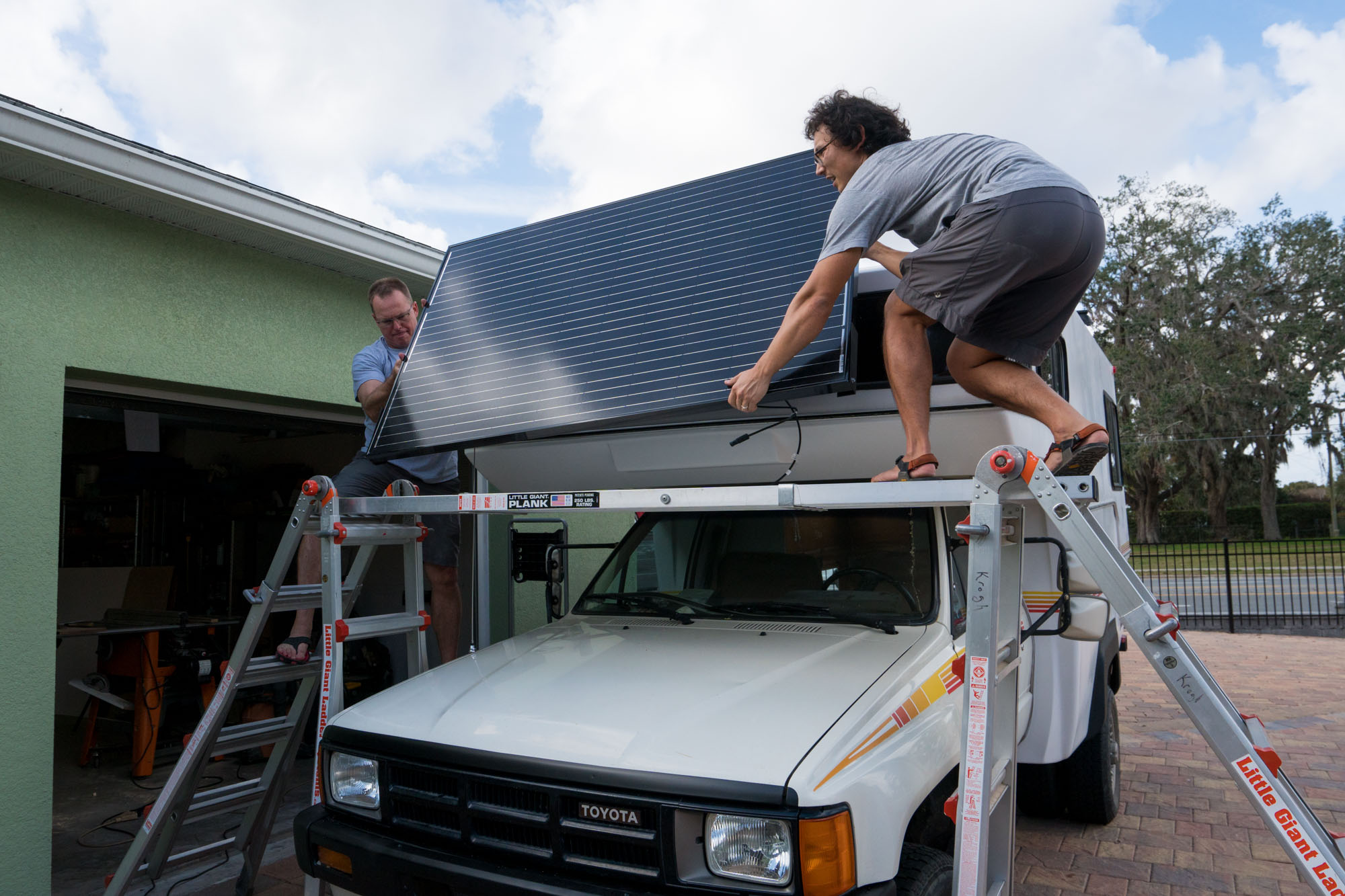 Getting the panel on the roof