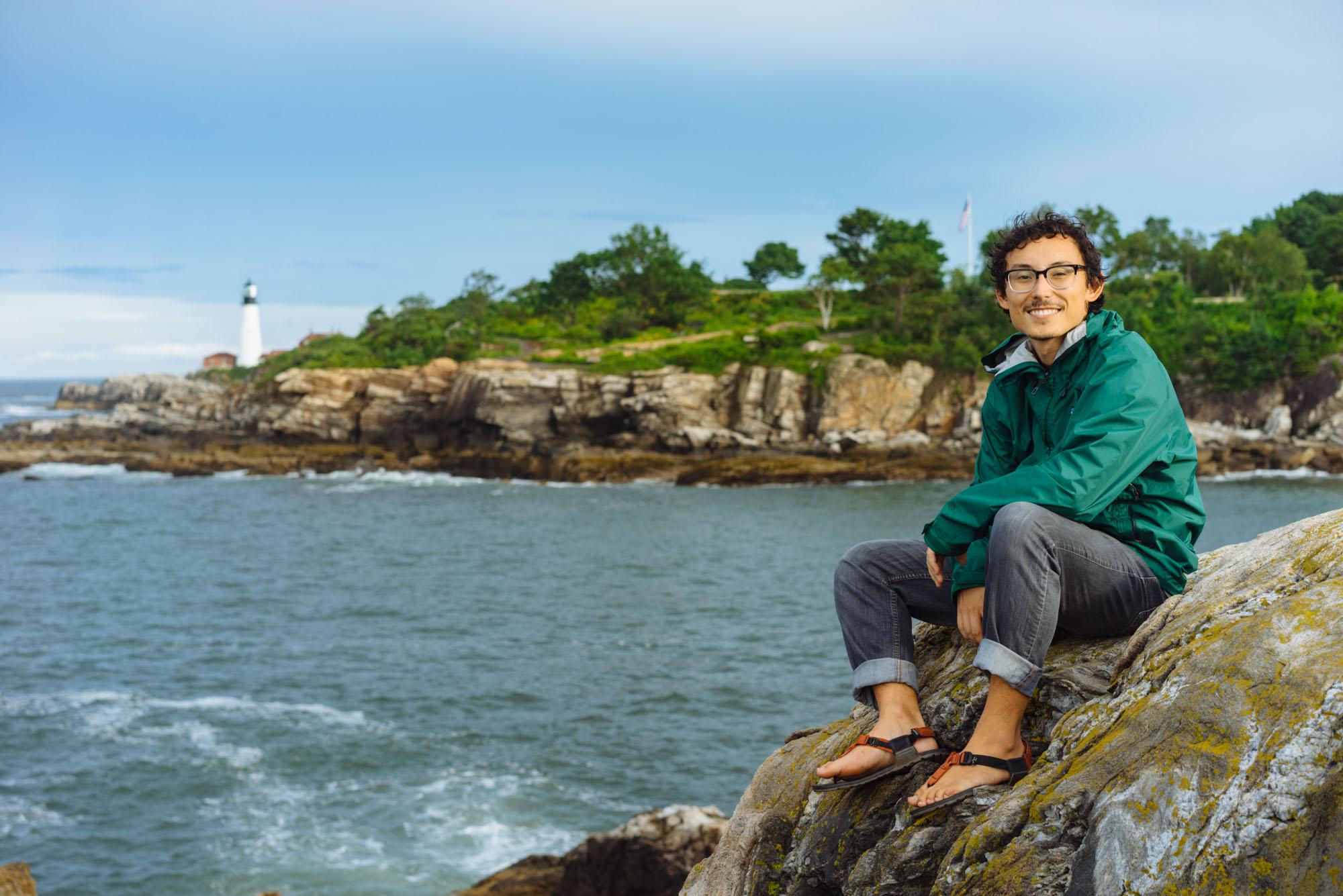 Owen in front of Portland Head Lighthouse