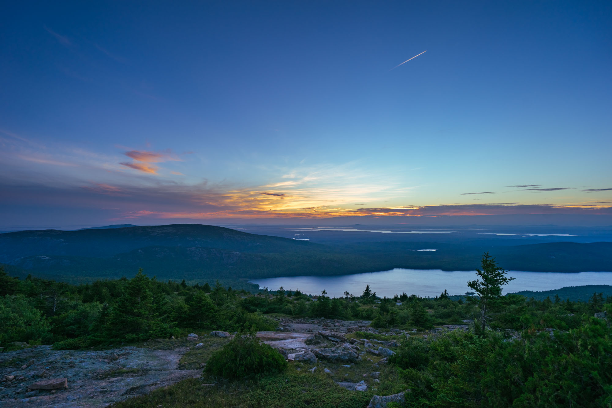 Sunset over Acadia NP from Cadillac Mountain