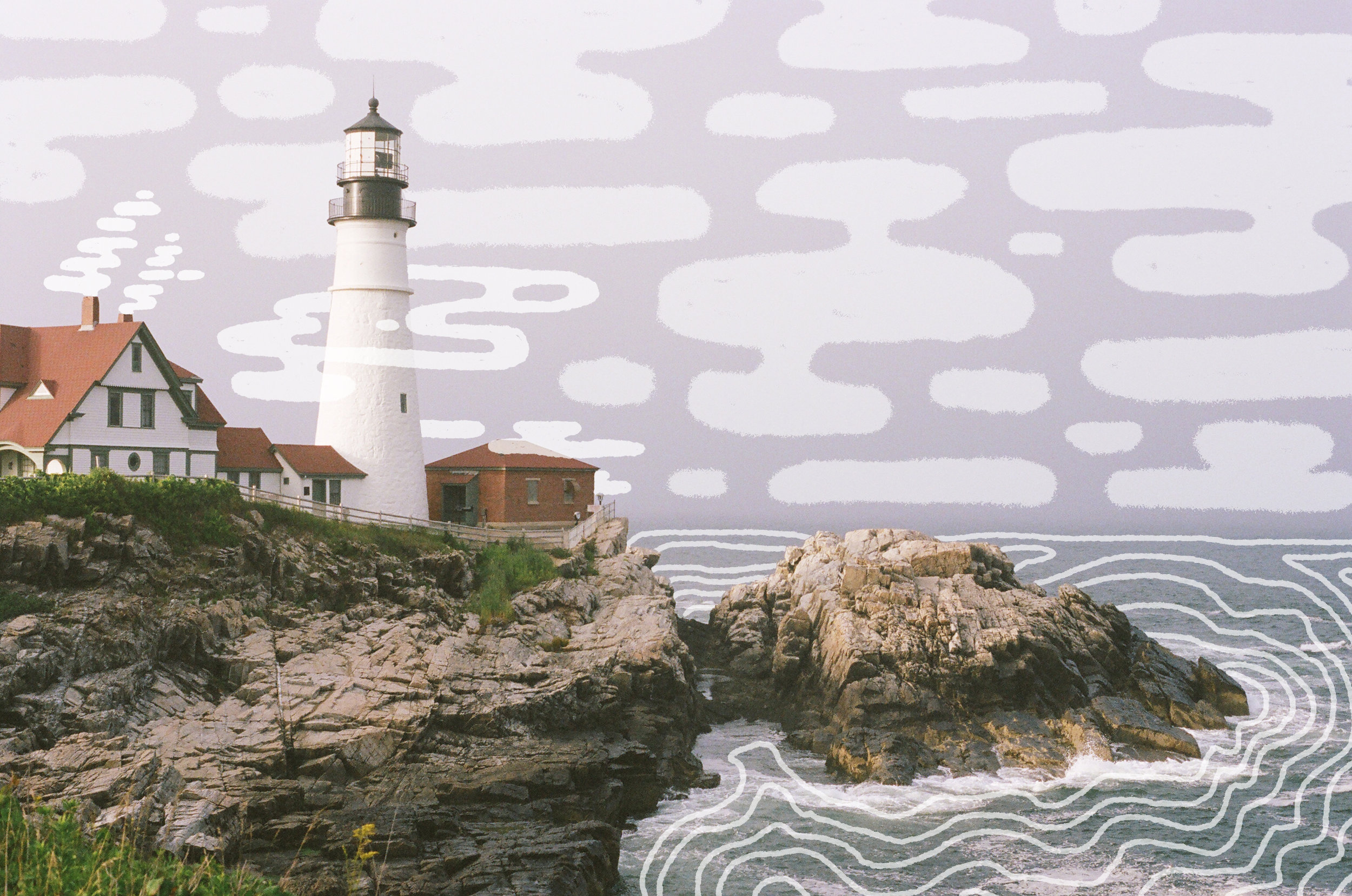 Illustration by MAK over Portland Head Lighthouse, 35mm