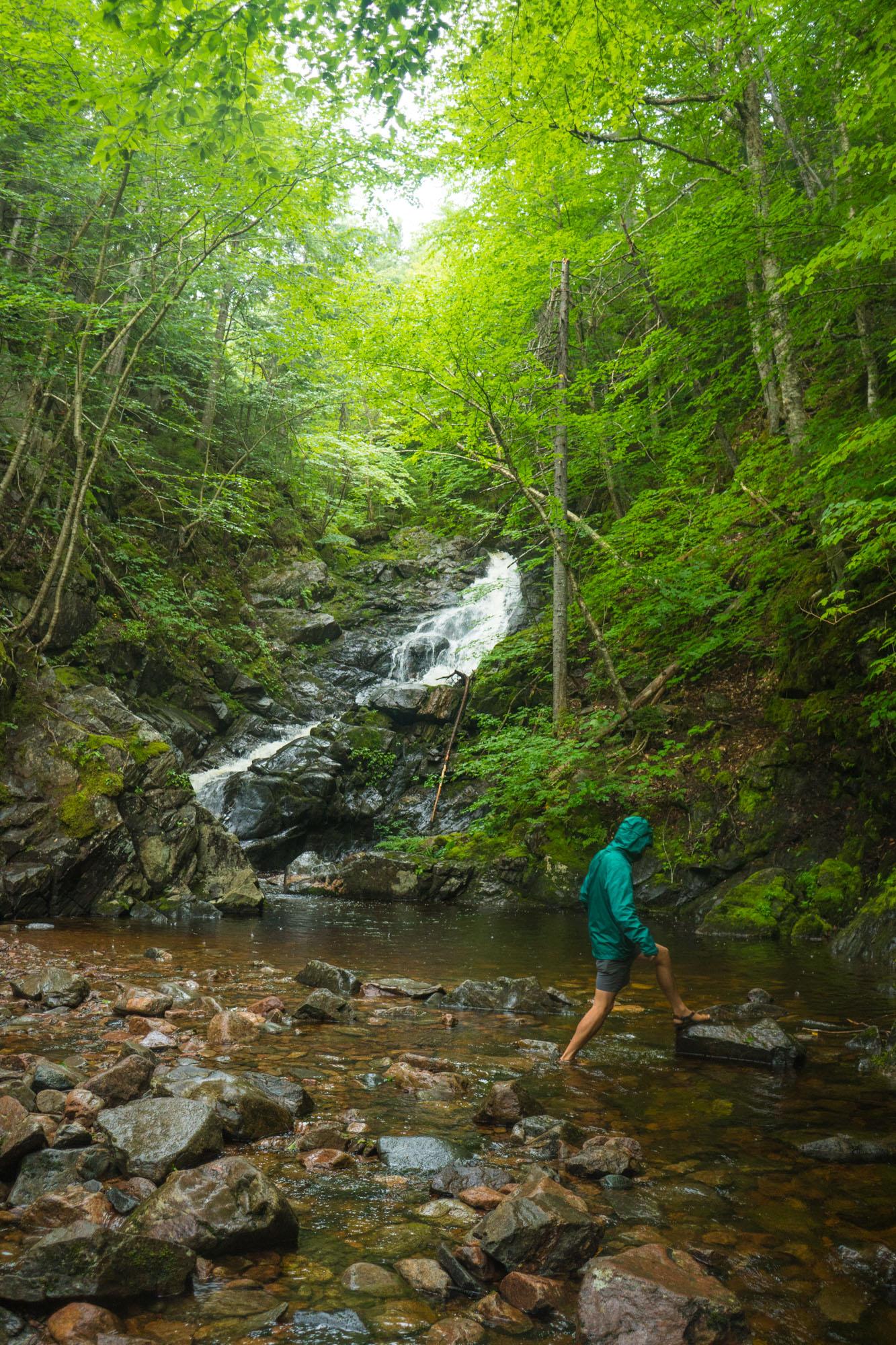 Owen exploring a waterfall in Cape Breton NP