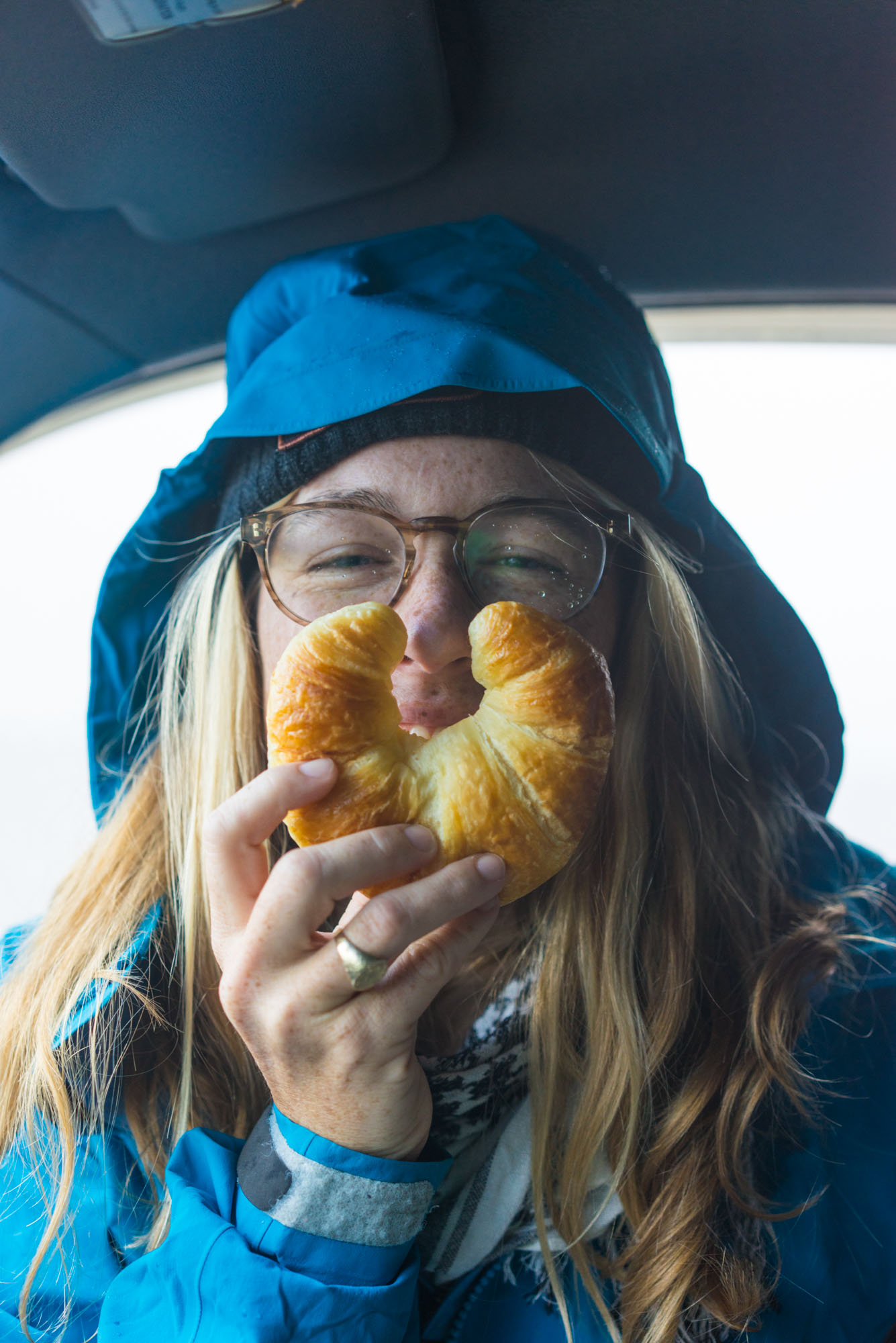 MAK enjoying a fresh croissant from the french town of Petit Étang