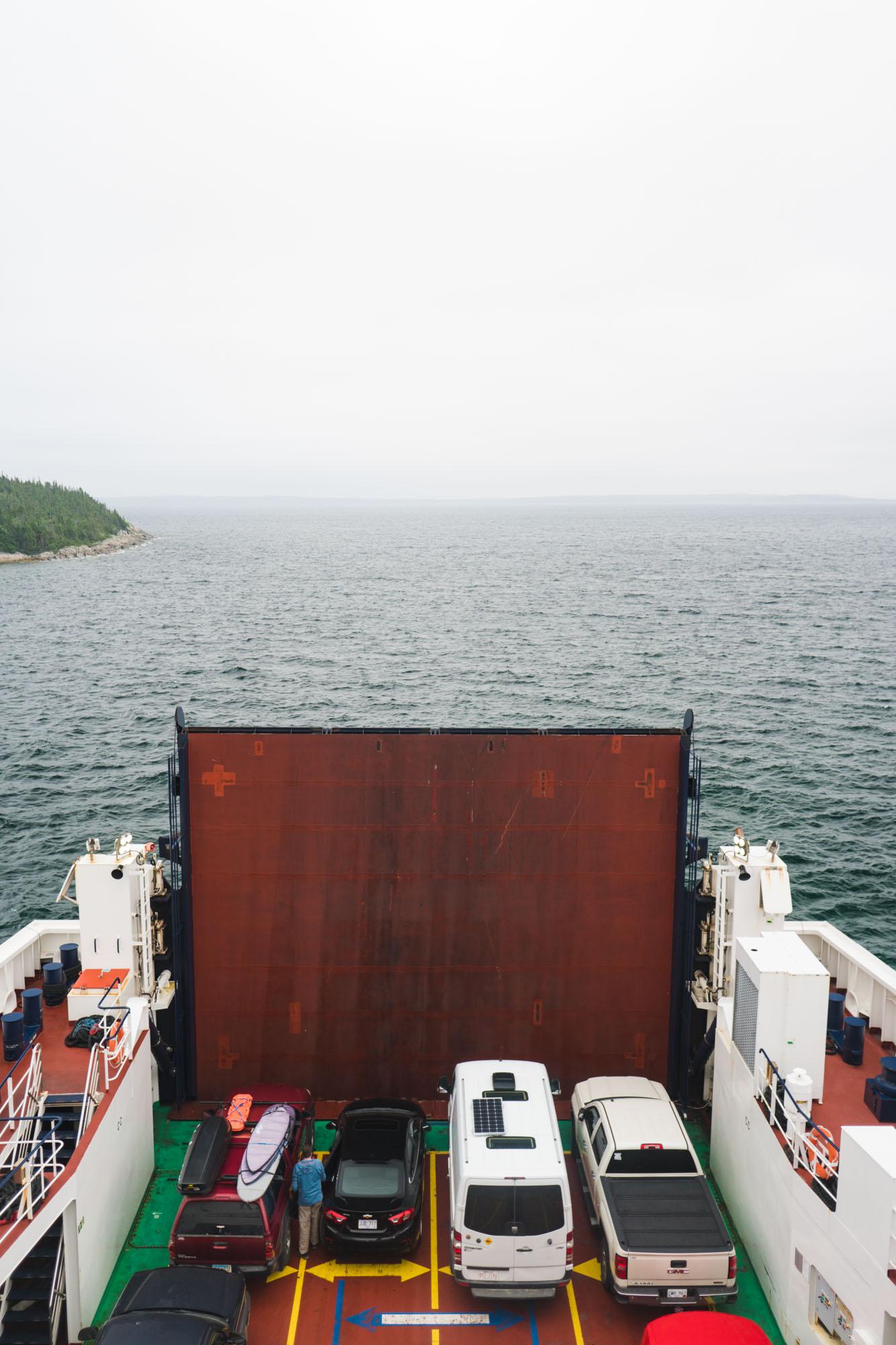 Lando aboard the ferry to Fogo Island