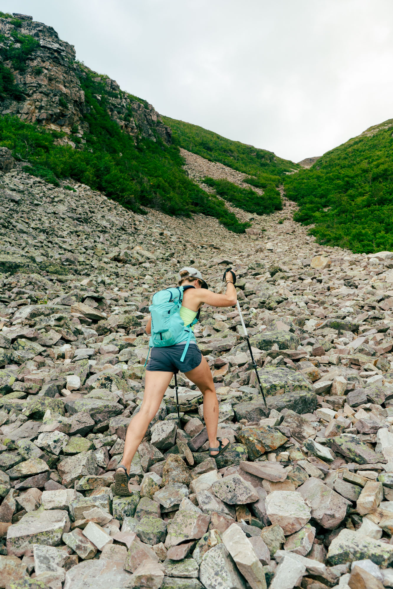 MAK climbing the 500m in elevation gain to the summit of Gros Morne