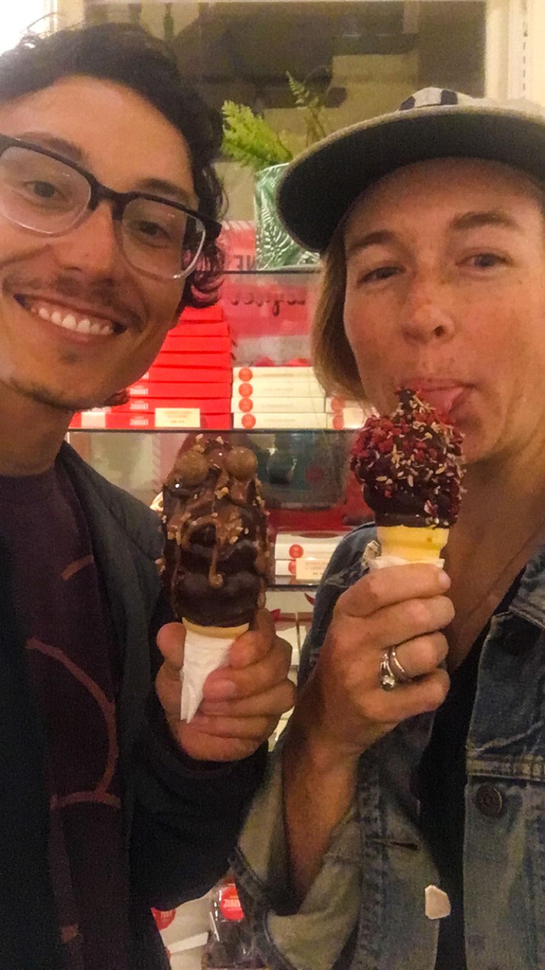Enjoying the amazingly fancy dip cones at Chocolats Favoris