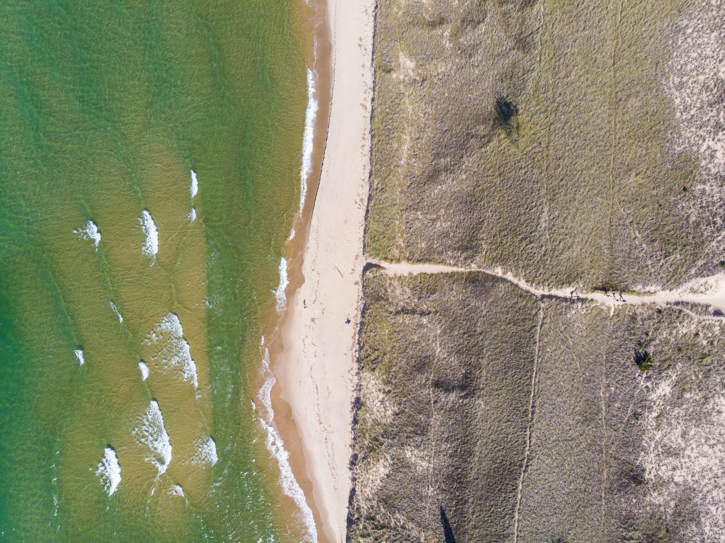 Drone shot of Lake Michigan just south of Holland, Michigan