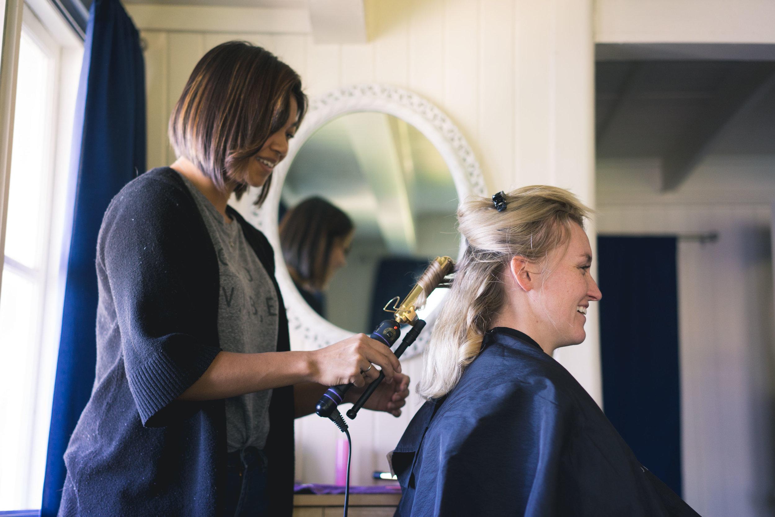 Sarah having some wedding hair prep done