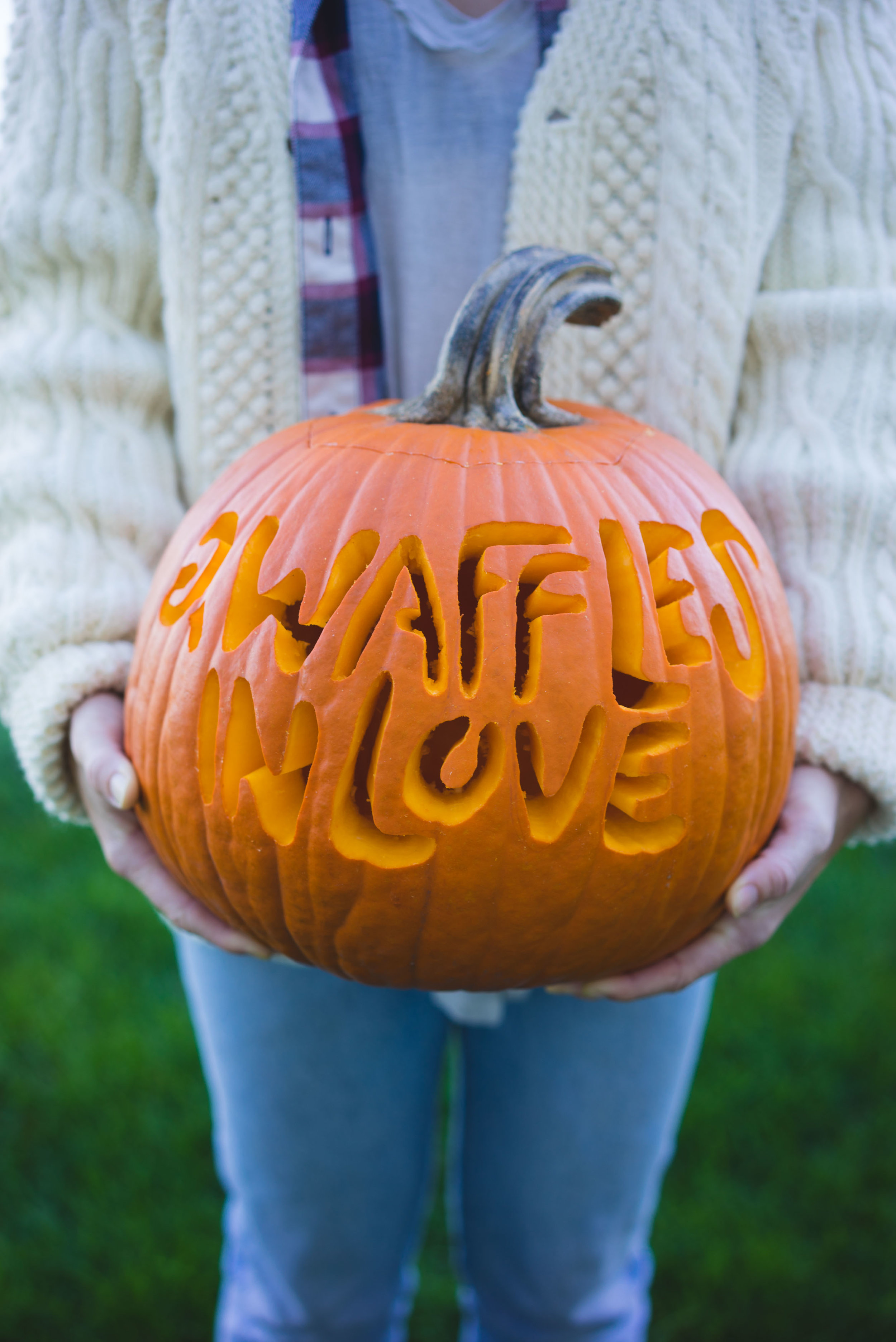 MAK carved a pumpkin for the wedding that says #2wafflesinlove
