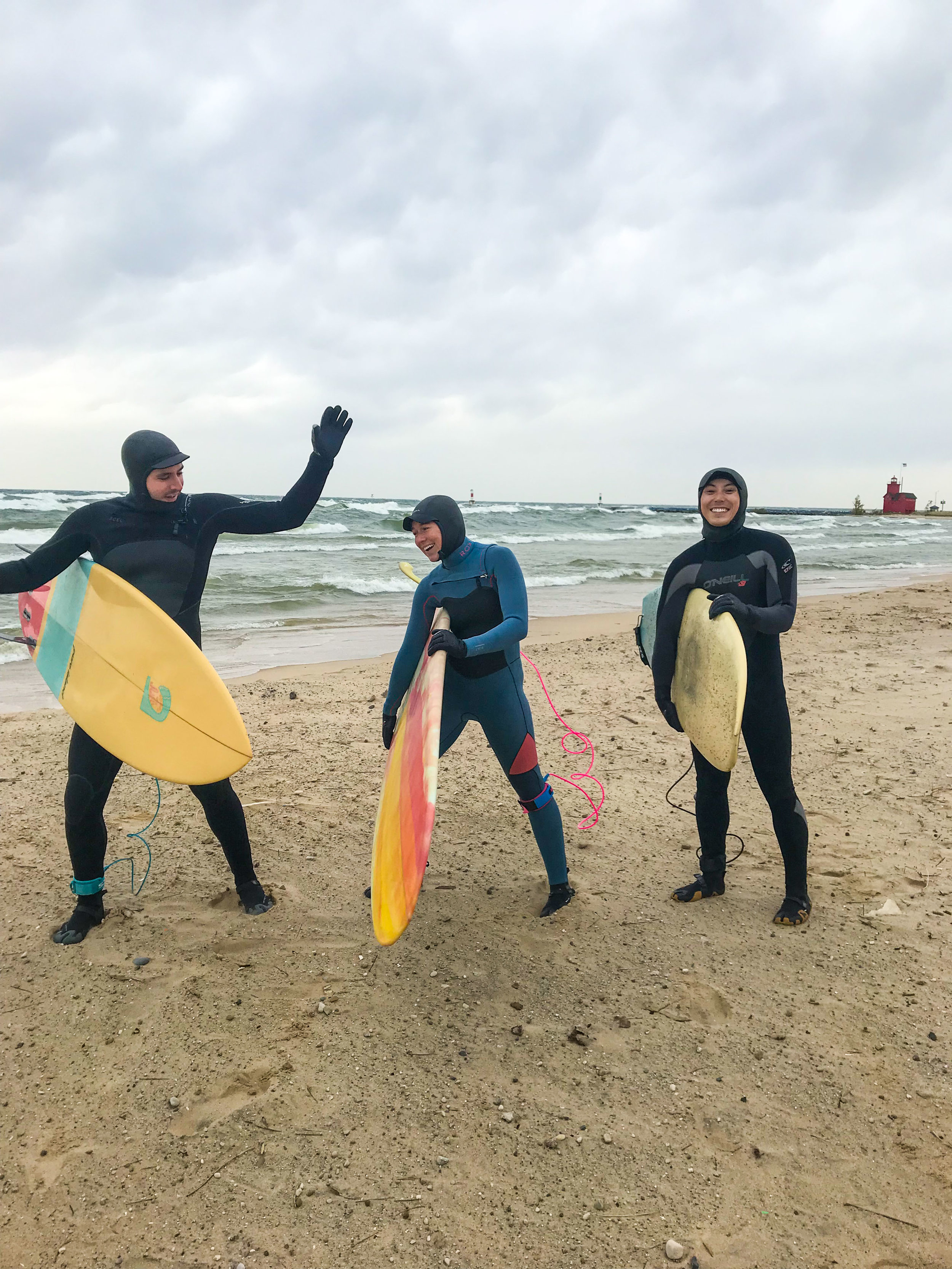 It was so windy you didn't have to hold the boards for them to stay in the air