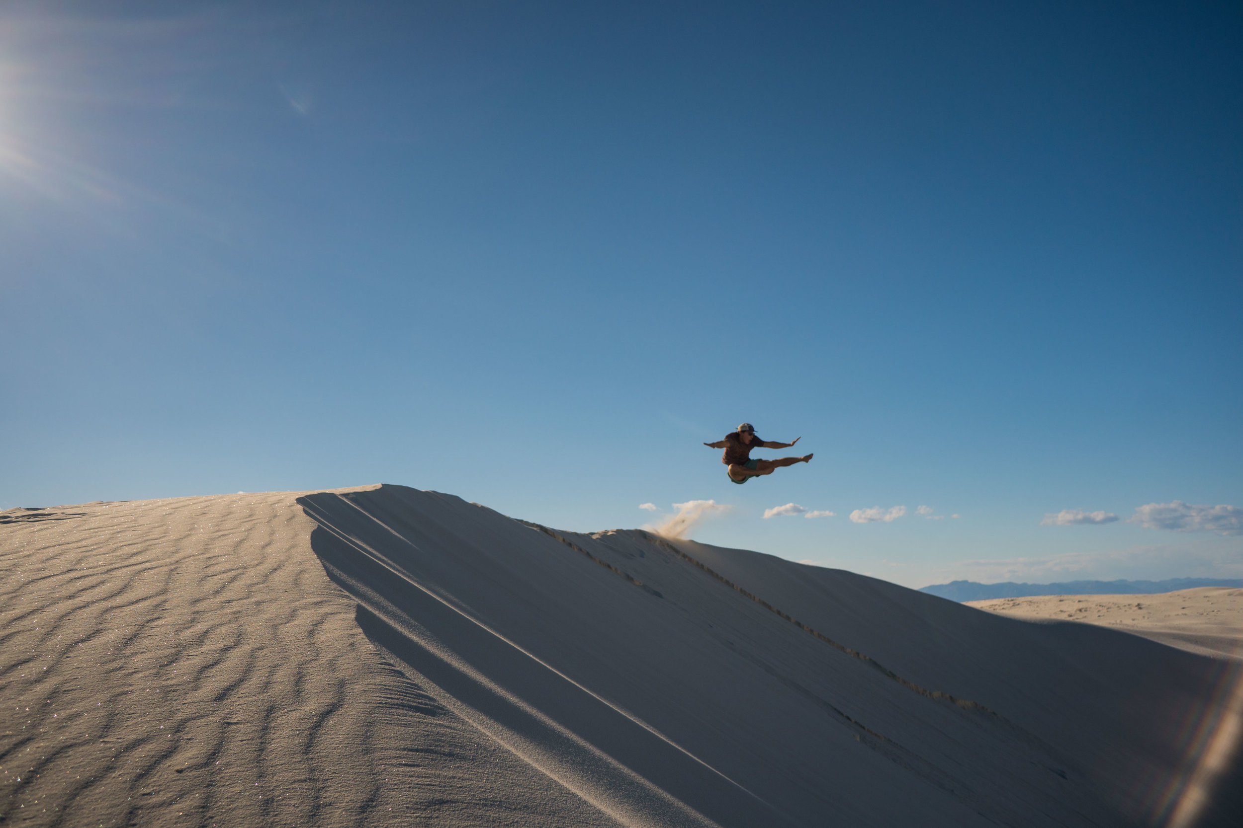 Owen and I had a jumping contest off the dunes. He won the jumping catagory