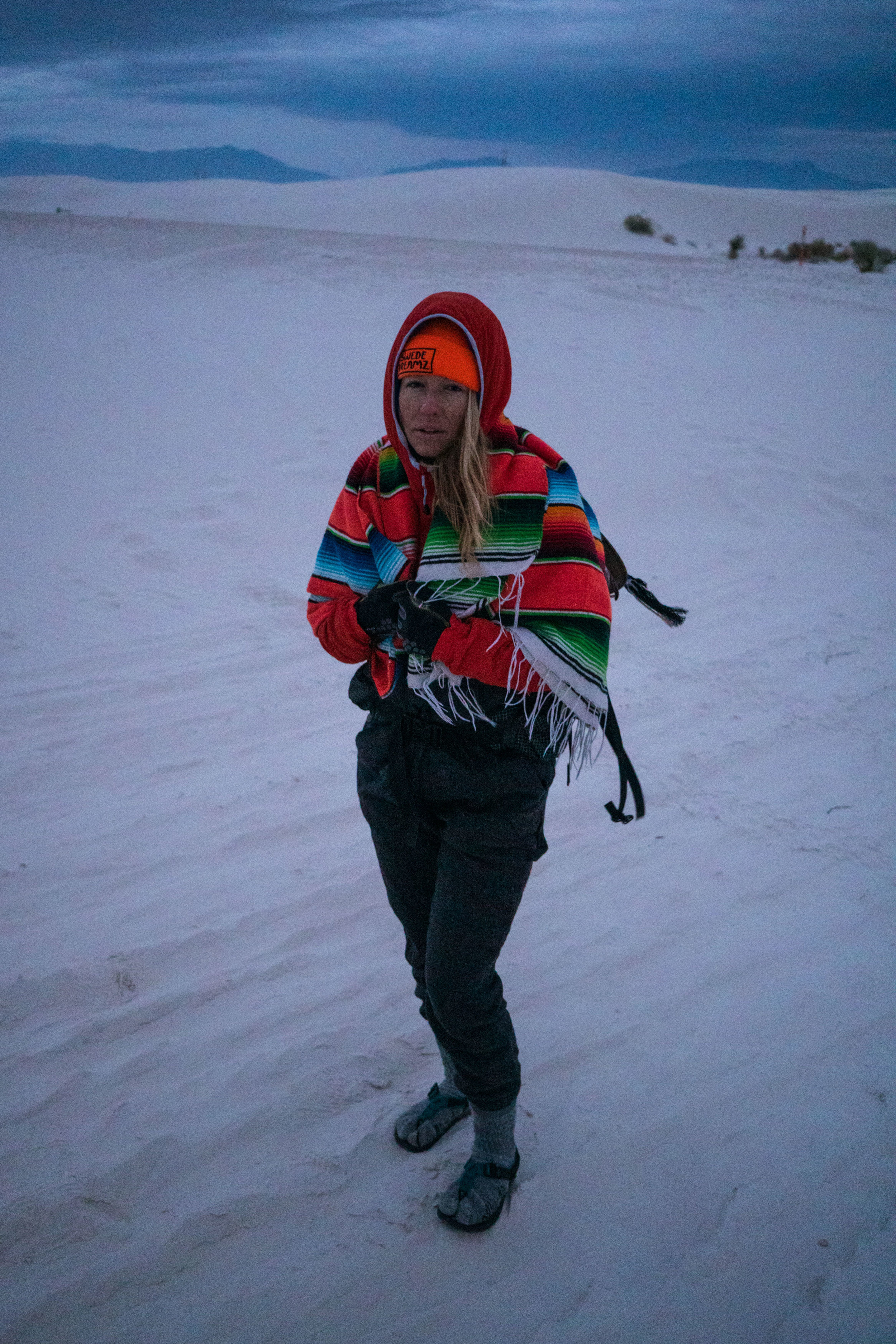 MAK wearing everything she packed into camp, and is still cold.