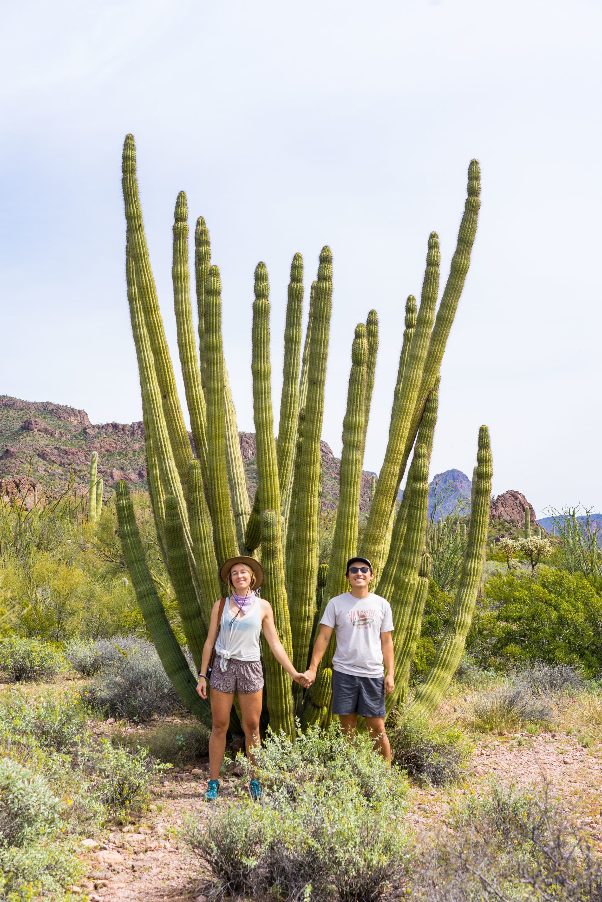 Us in front of a very beautiful Organ Pipe Cactus