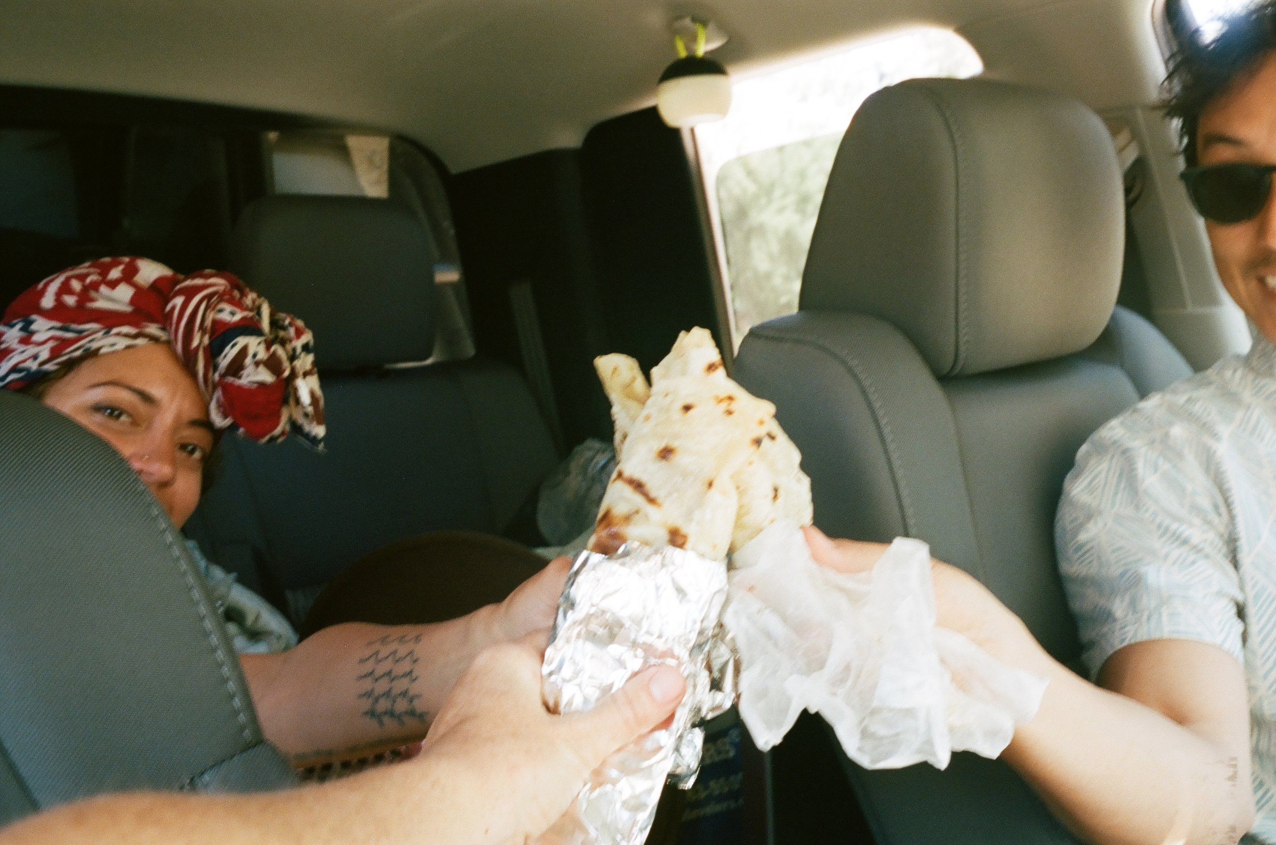 Celebratory burritos before crossing the border