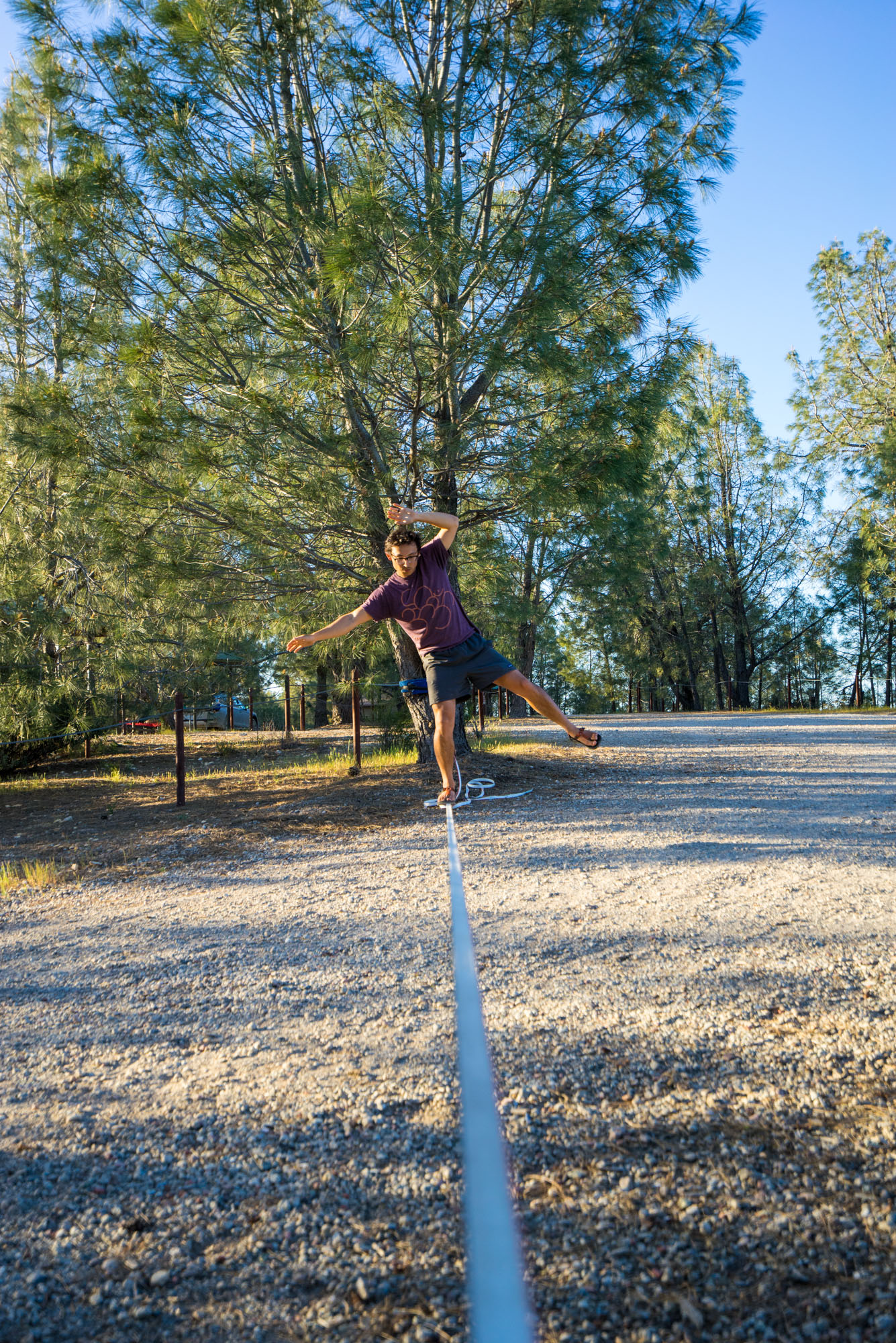 Owen practicing on the new slackline
