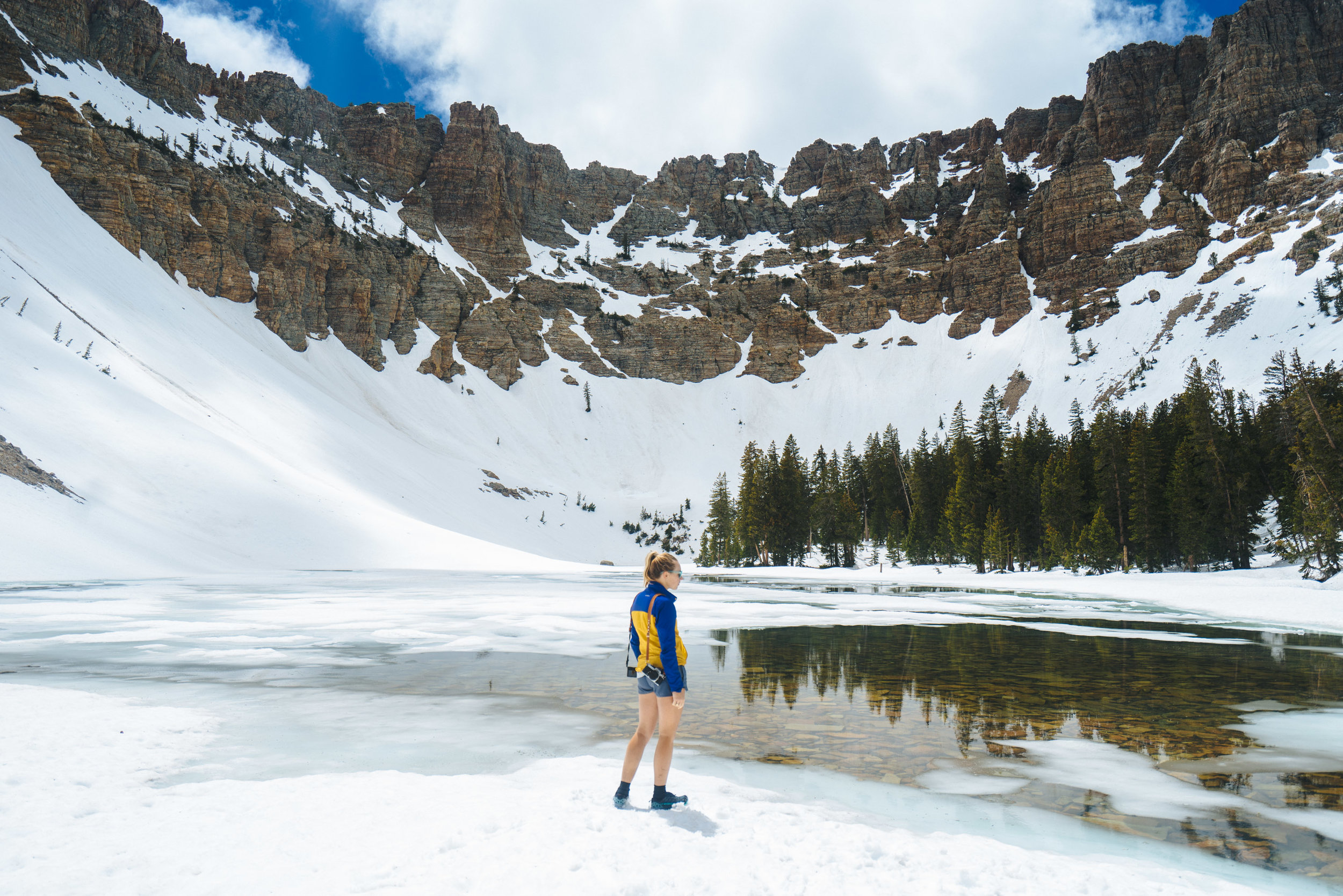 Baker Lake, Great Basin NP, Nevada while on a training hike in the snow