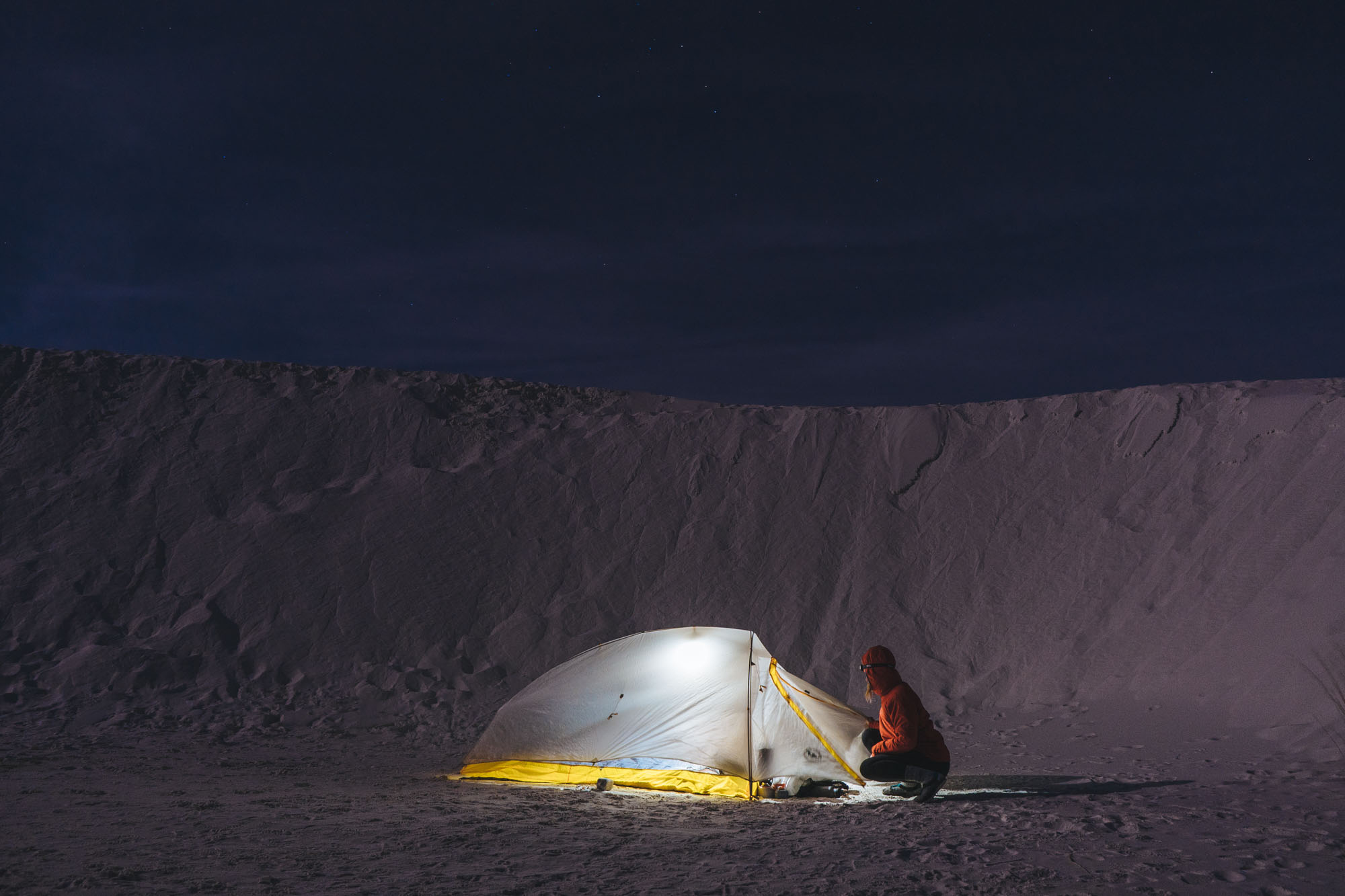 Camping in White Sands NM, New Mexico, This is the tent that we will be using on the trail