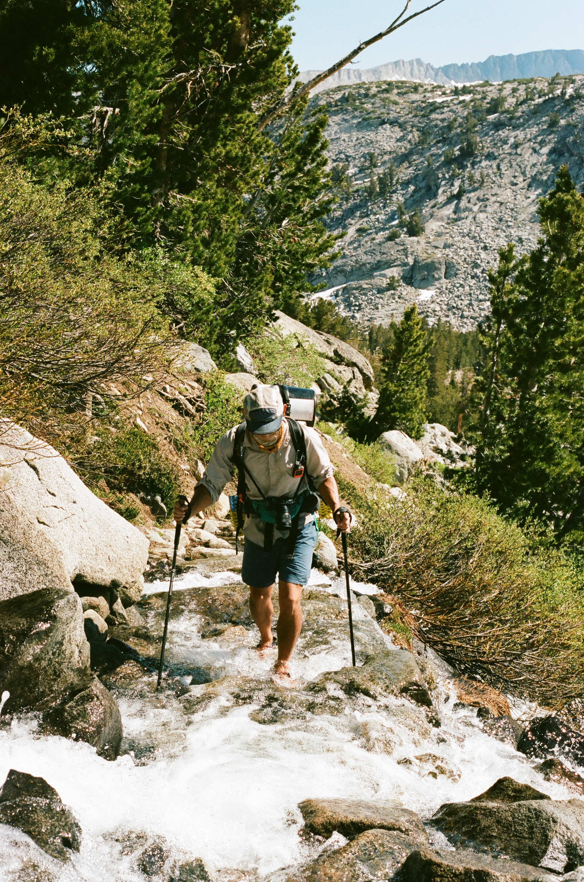 Owen crossing water near Donohue Pass, 35mm film