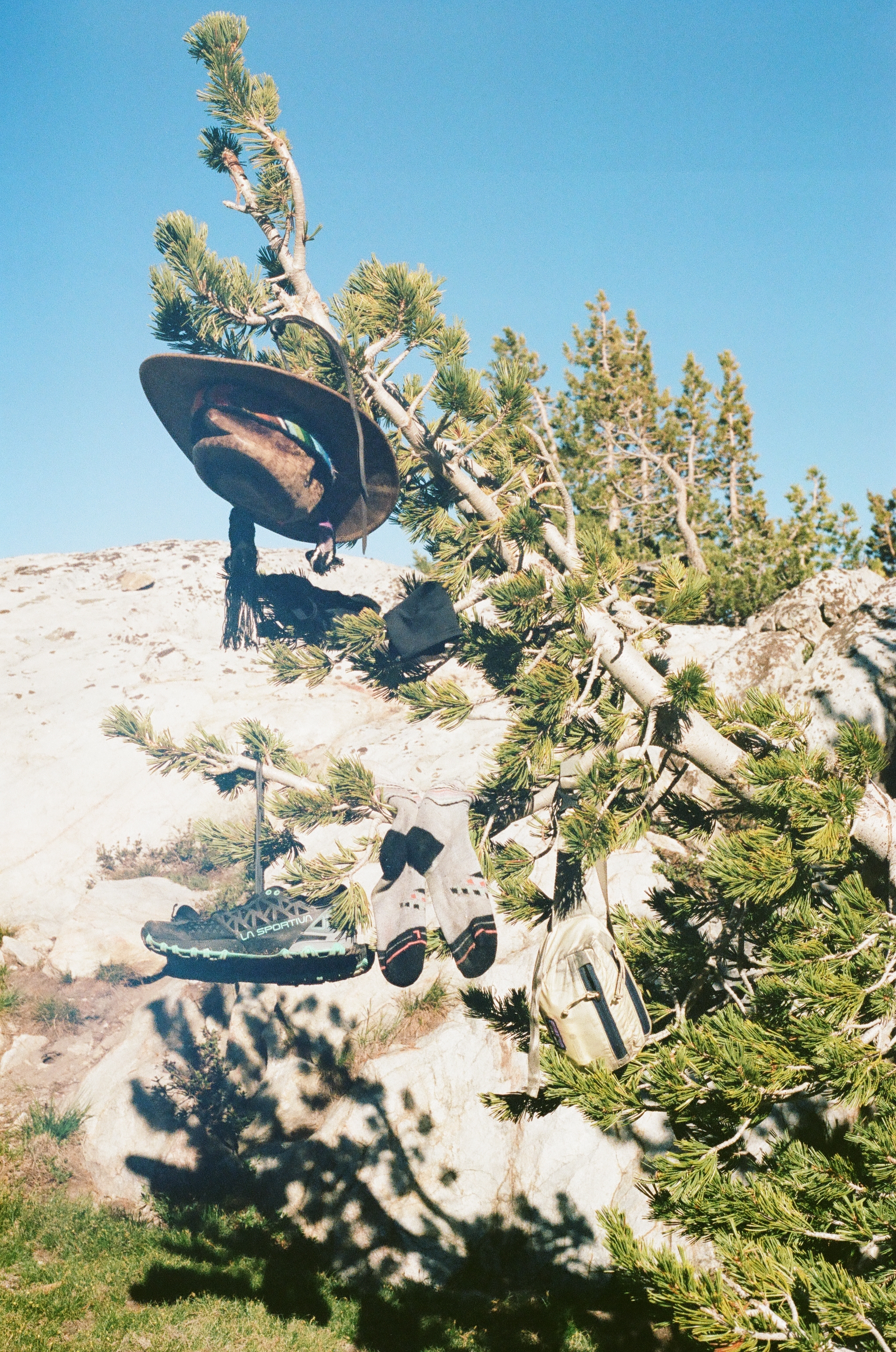 My gear drying out at camp, 35mm film