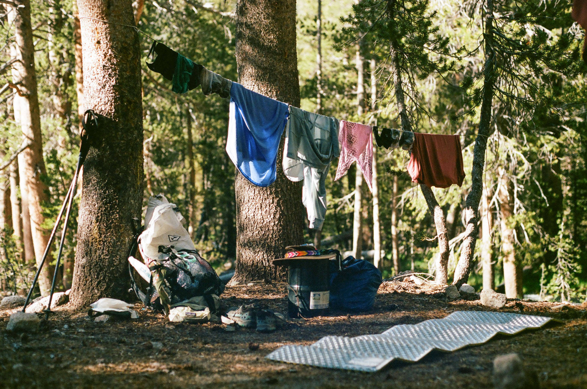 Therm-a-rest Z Lite Sol at camp, 35 mm film
