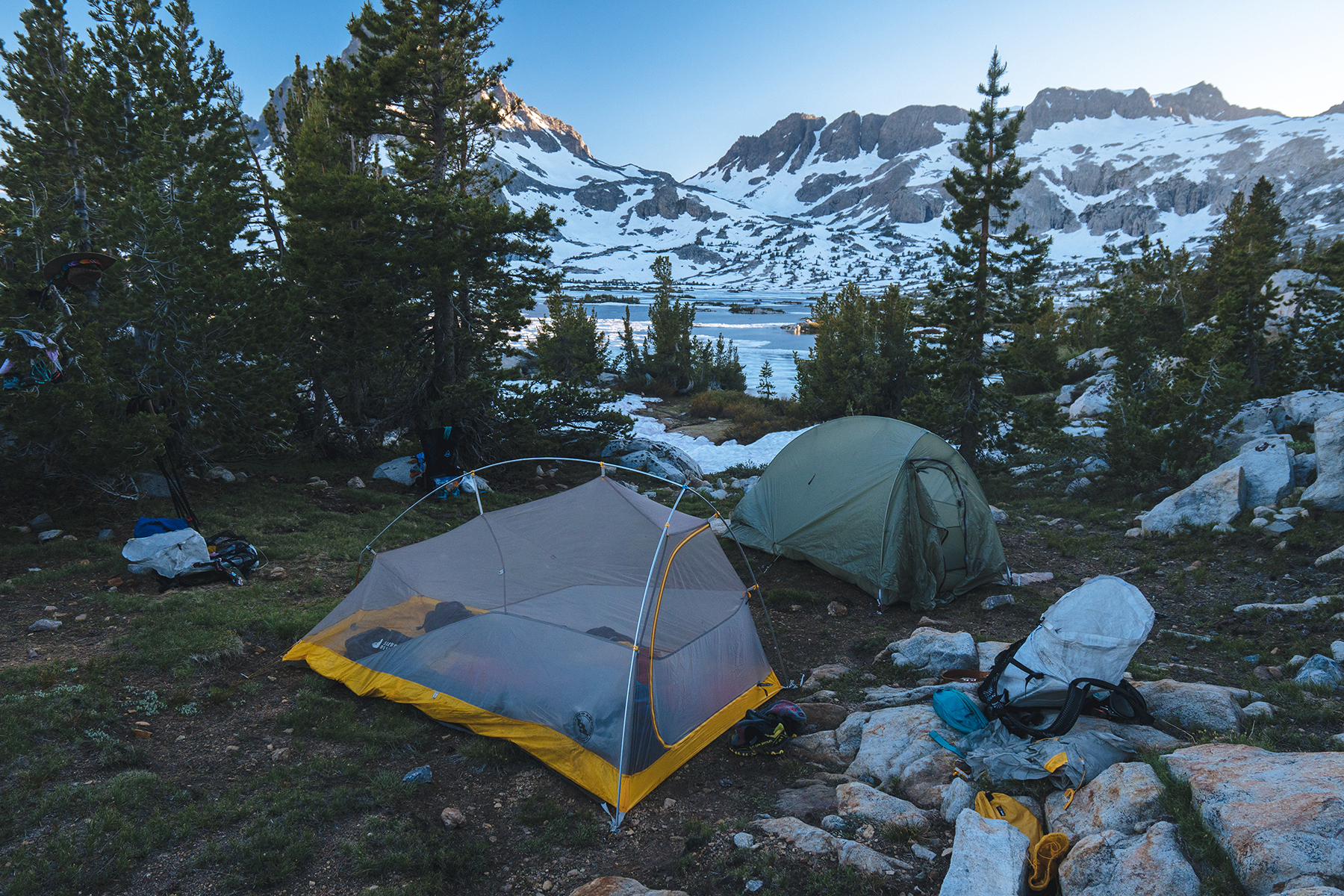 Our little homes (Big Agnes Fly Creek Tents) at Thousand Island Lake