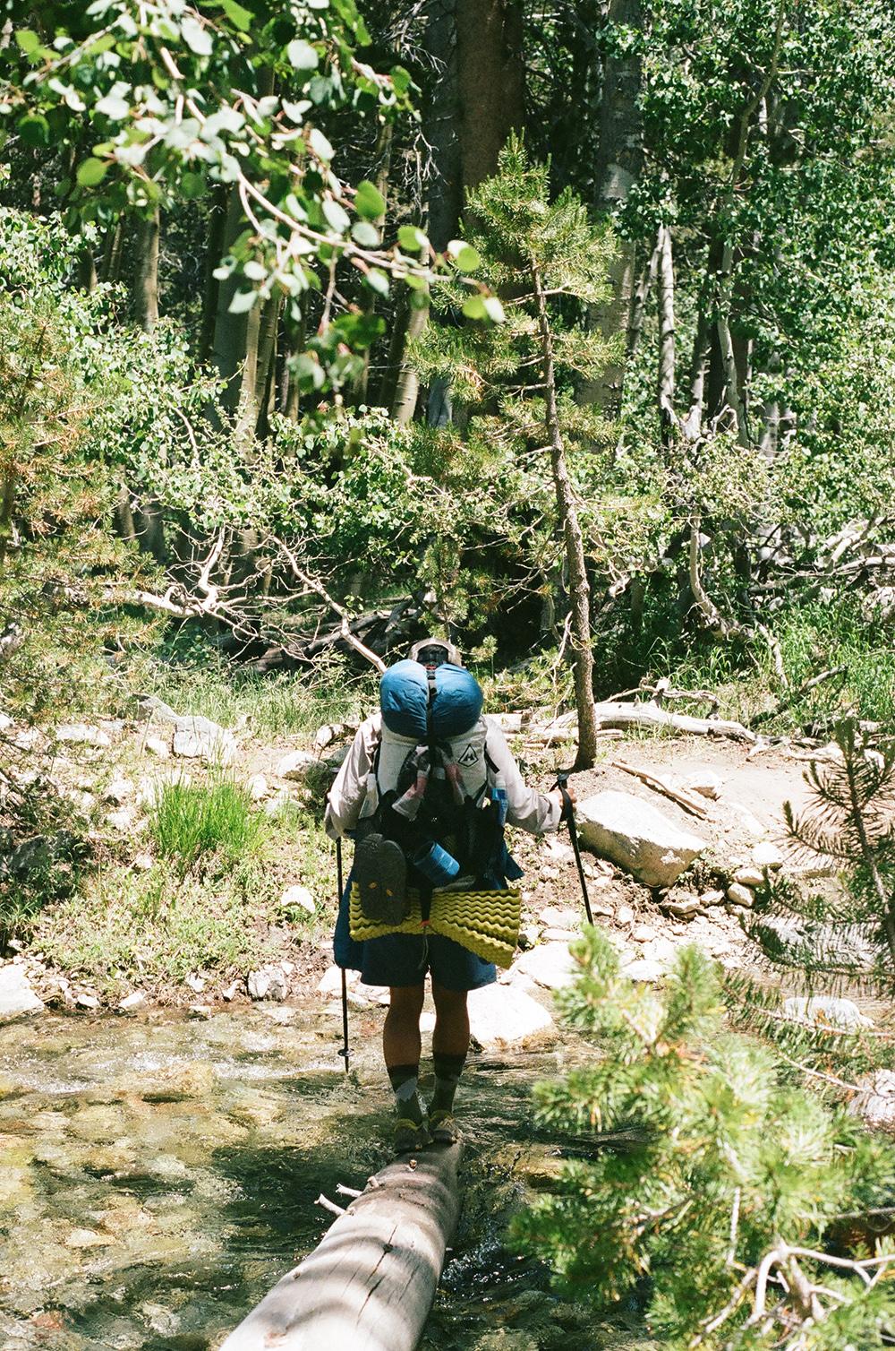 Owen heading into a river crossing, 35mm film